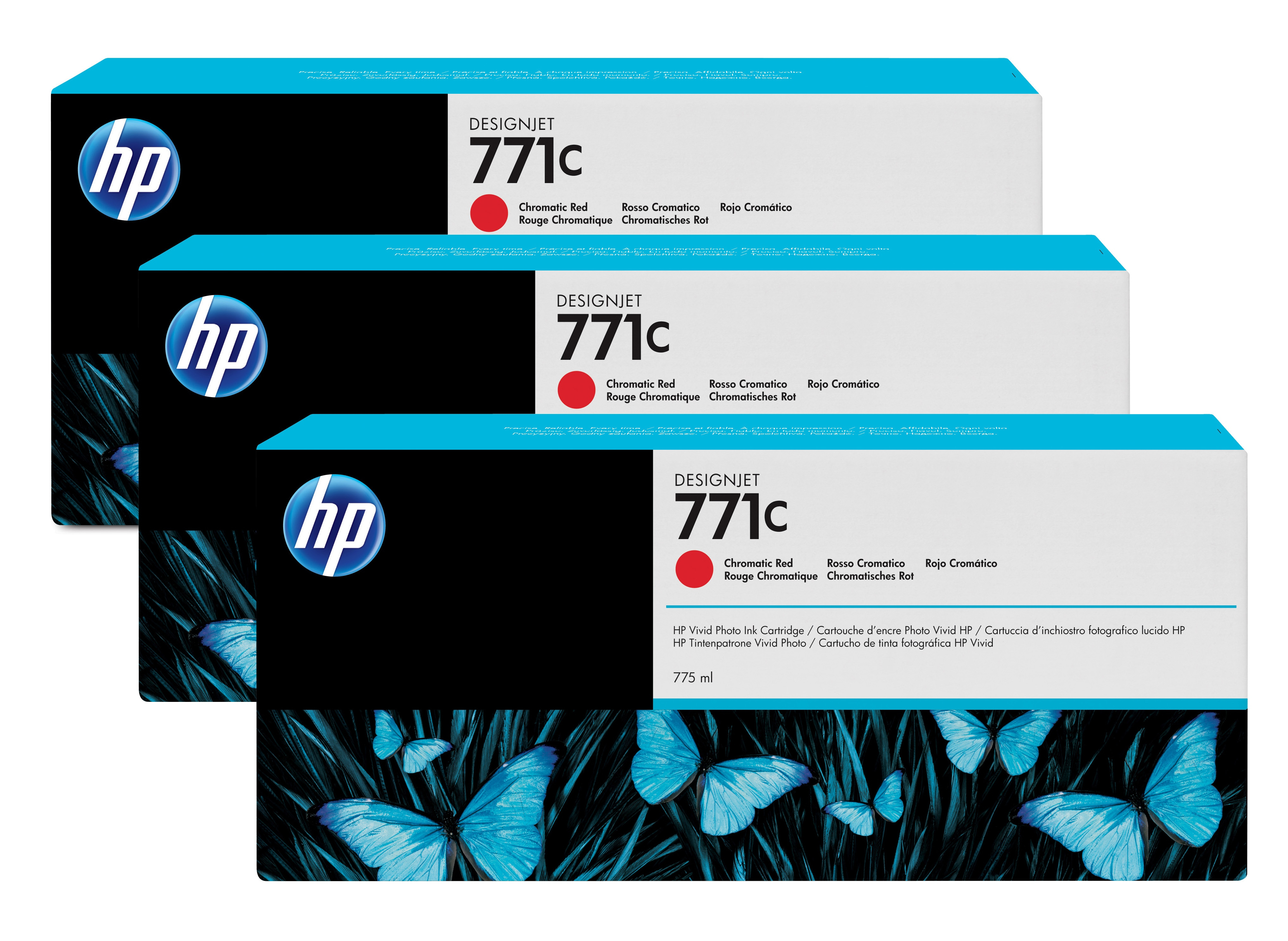 HP No. 771C 3 Ink Multipack - Chromatic Red B6y32a