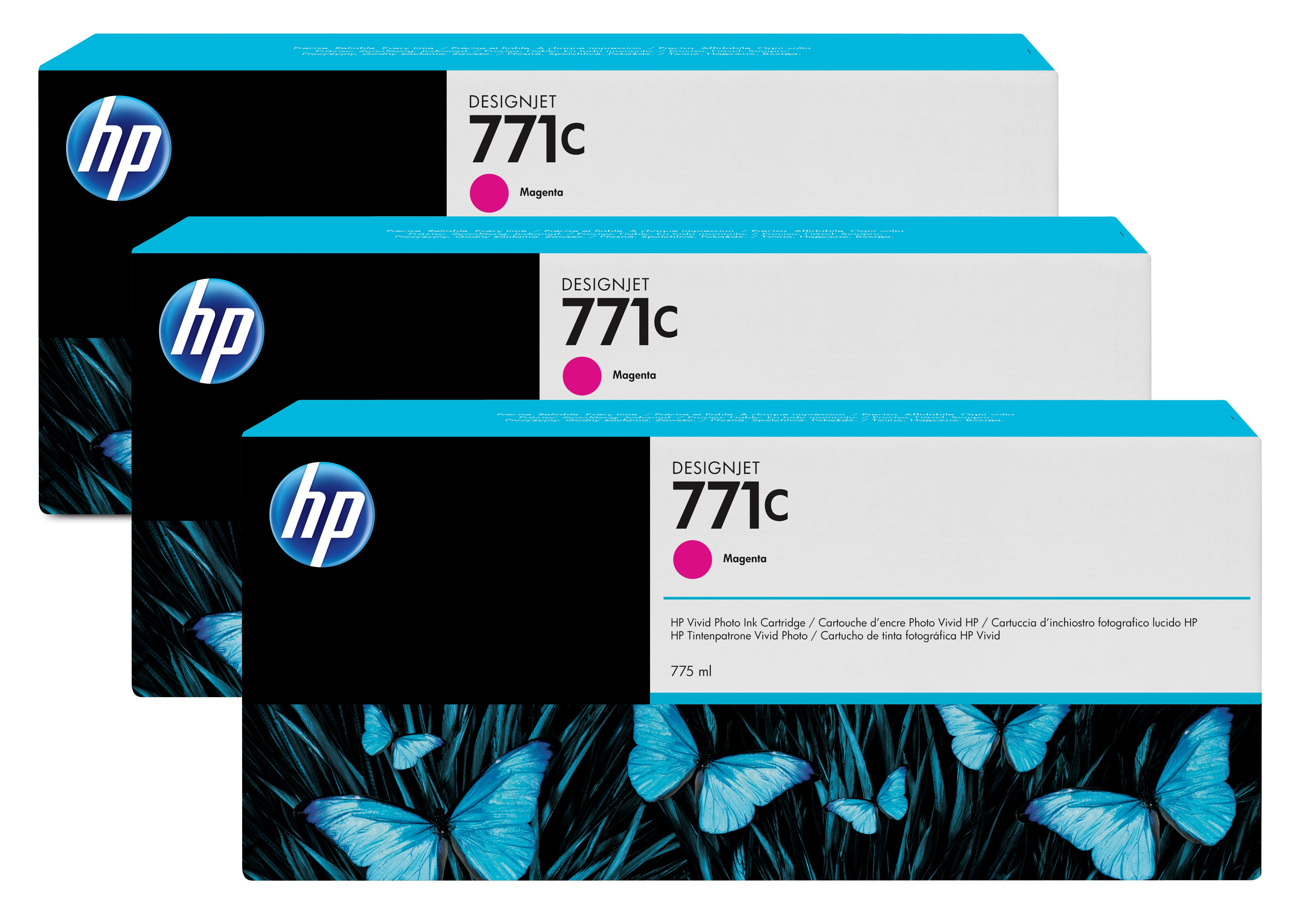 HP No. 771C 3 Ink Multipack - Magenta B6y33a