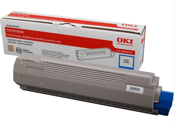 Oki Cyan Toner 8k For C810/830 44059107 - WC01
