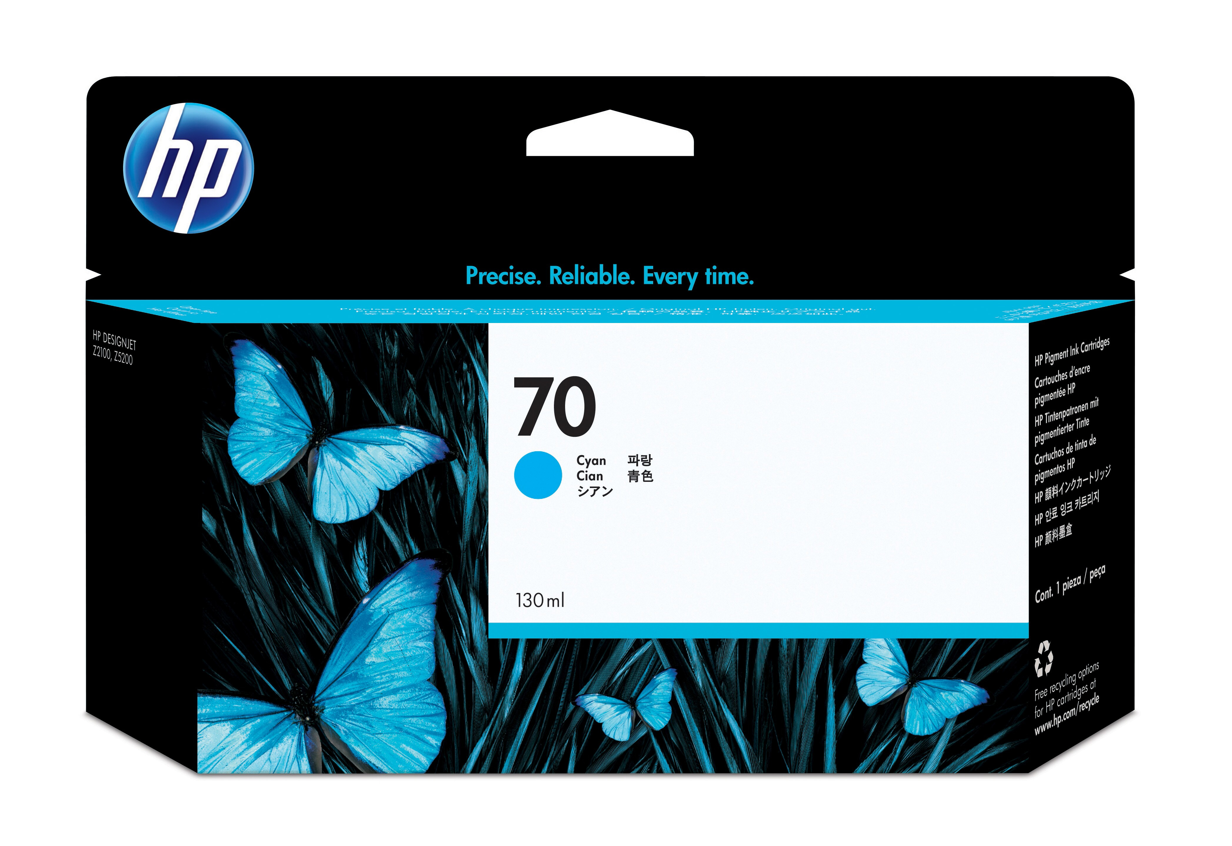 Hp 70 130 Ml Cyan Ink Cartridge C9452a - WC01