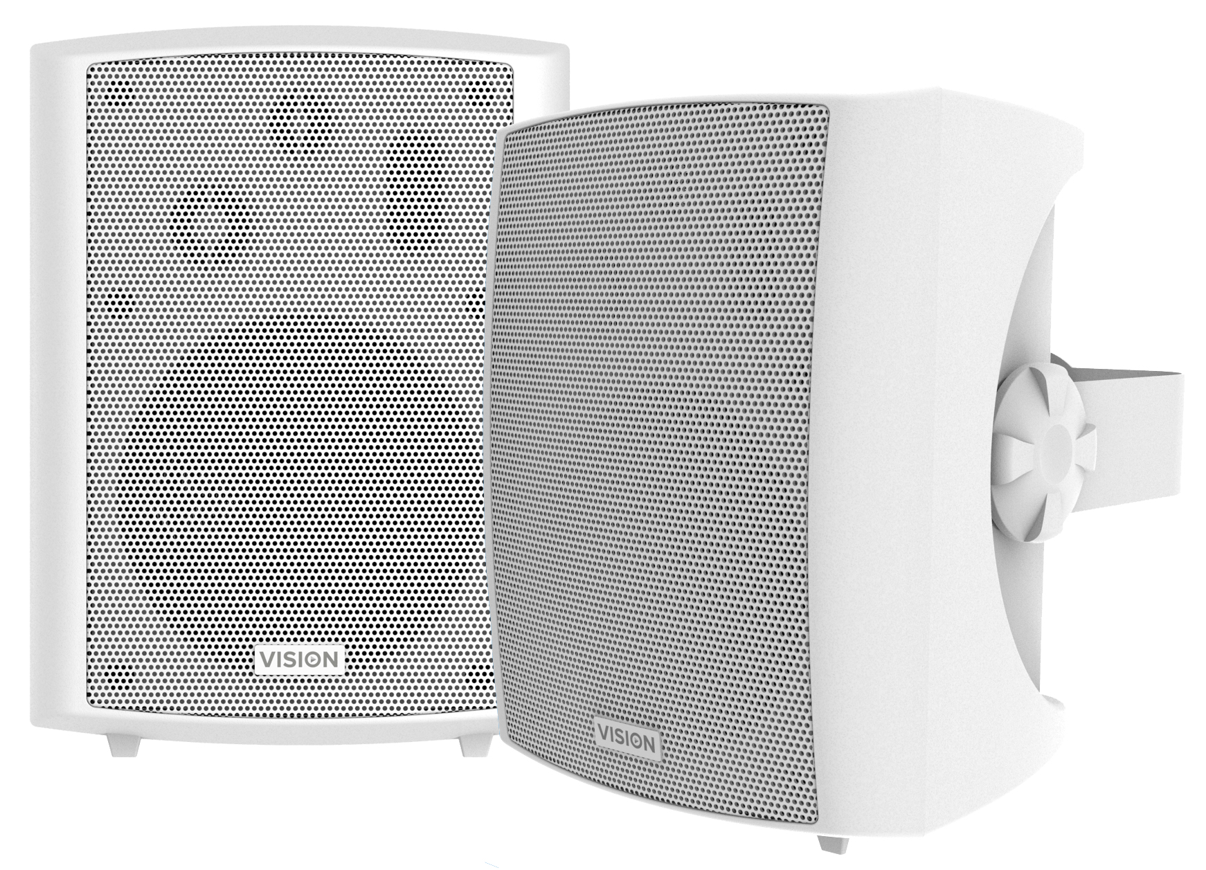"VISION SP-1800 WHITE WALL LOUDSPEAKERS [PAIR] 50w (rms) Power Handling (each), Low-impedance, 3-way With Bass Reflex, 5.25"" Woofer, 0.5"" Tweeter, Squawker 1"", Horizontal C Brackets Included.  - C2000"