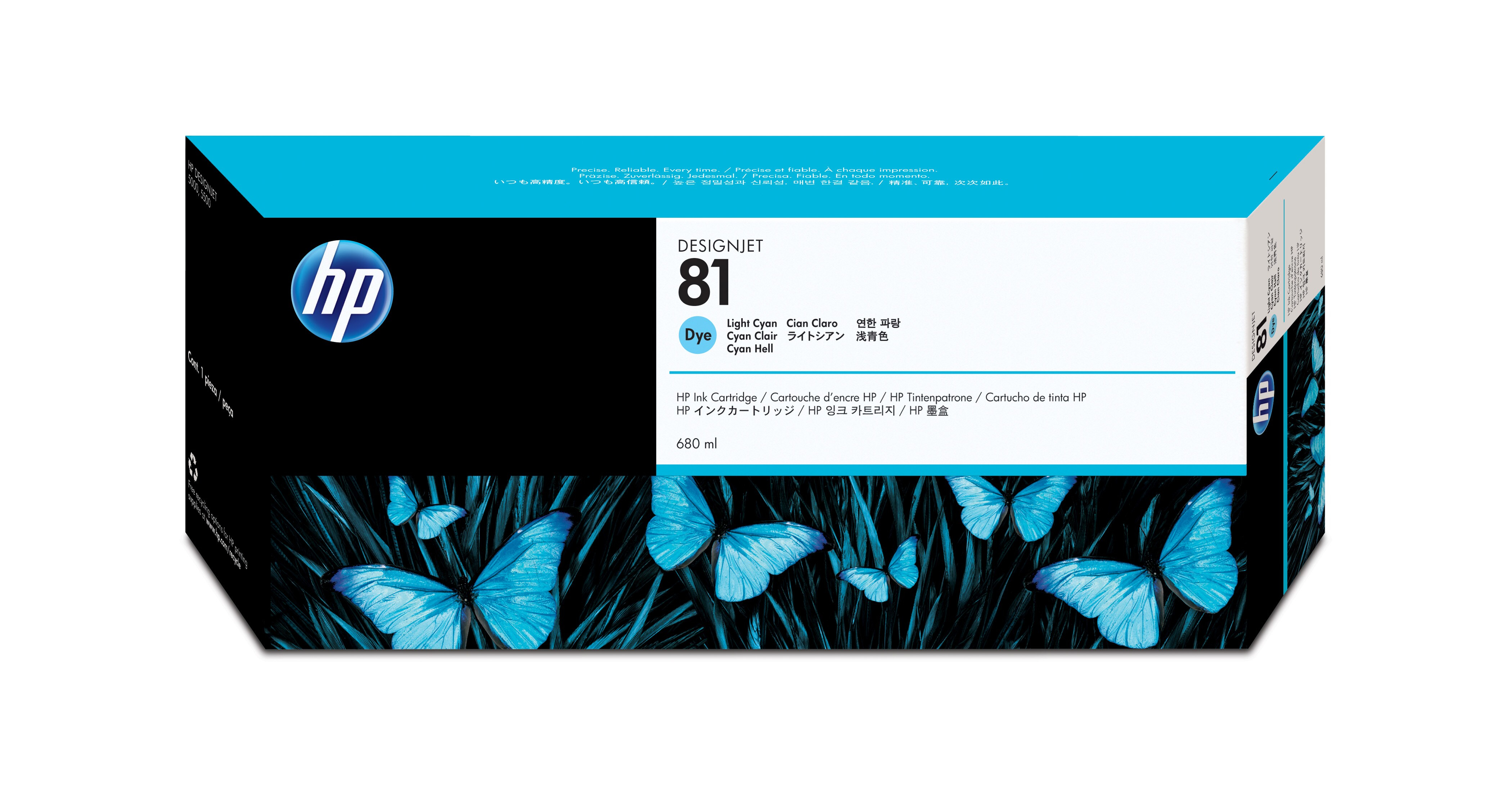 HP No. 81 Dye Ink Cartridge Light Cyan - 680ml C4934a