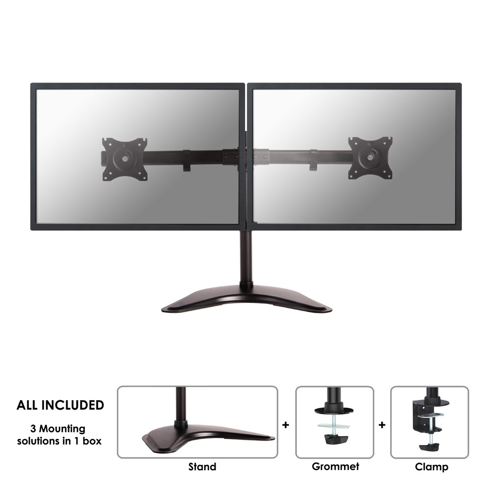 "NewStar NeoMounts NM-D335DBLACK - Desk Mount For 2 LCD Displays - Black - Screen Size: 10"" - 27"" NM-D335DBLACK - C2000"