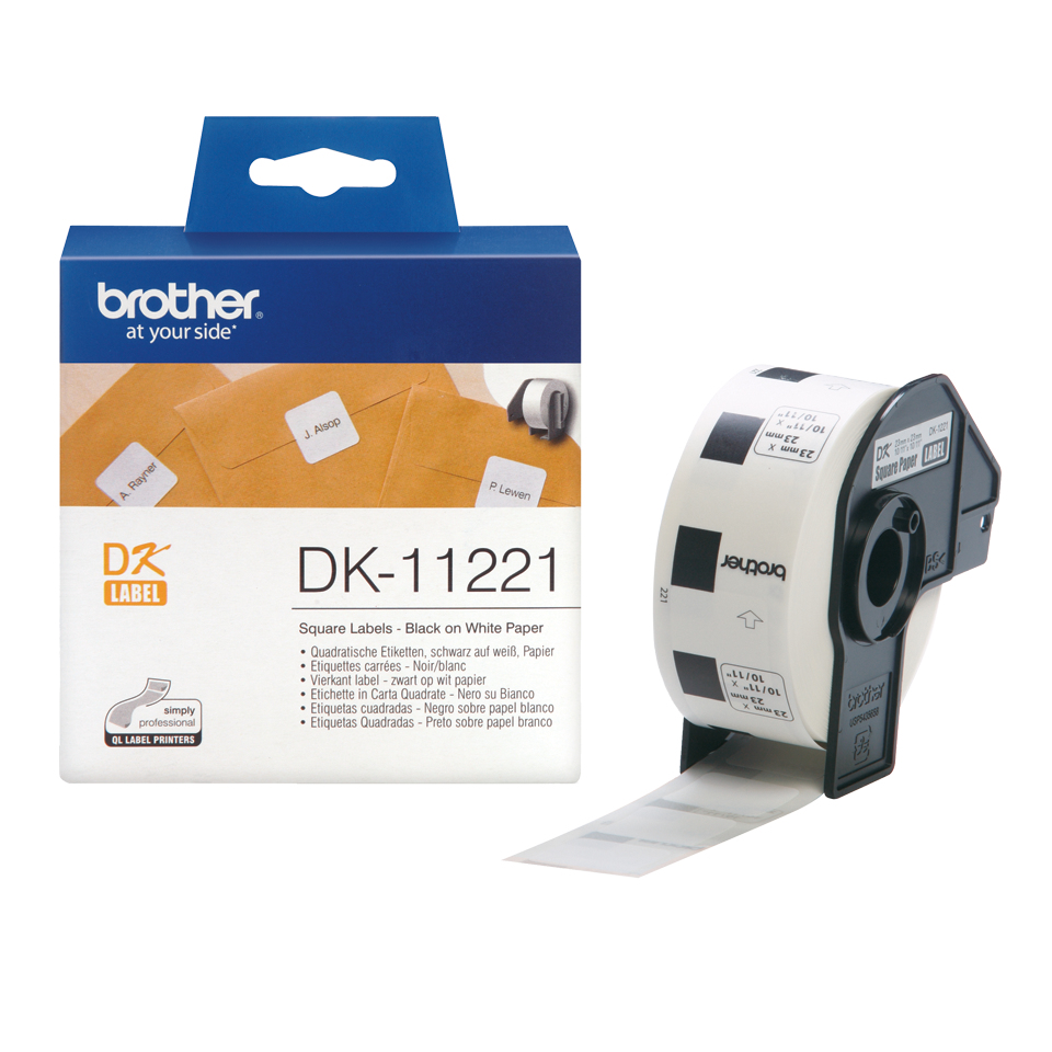 Brodk11221     Brother Dk11221 Permanent      Adhesive Label:23mm(w)x23mm(l)                               - UF01