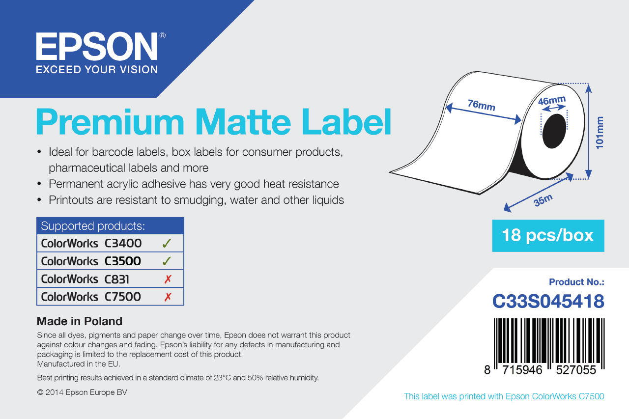 Epson - Pos Sd Label Consumables 1roll Premium Matte Label Cont      76mm X 35m  Minorderqty: 18         C33s045418