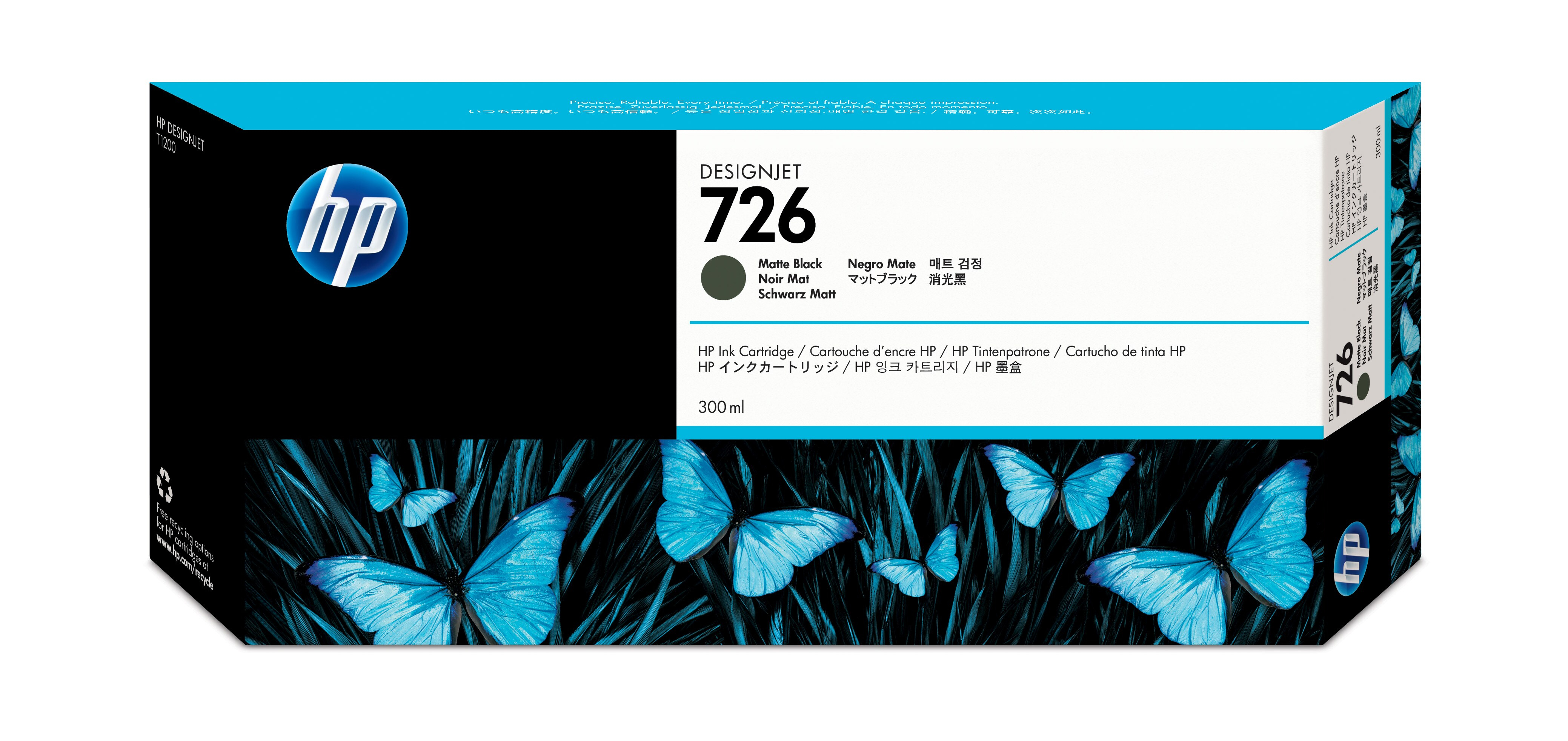 Hp 726 300-ml Matte Black Ink Cartri Ch575a - WC01