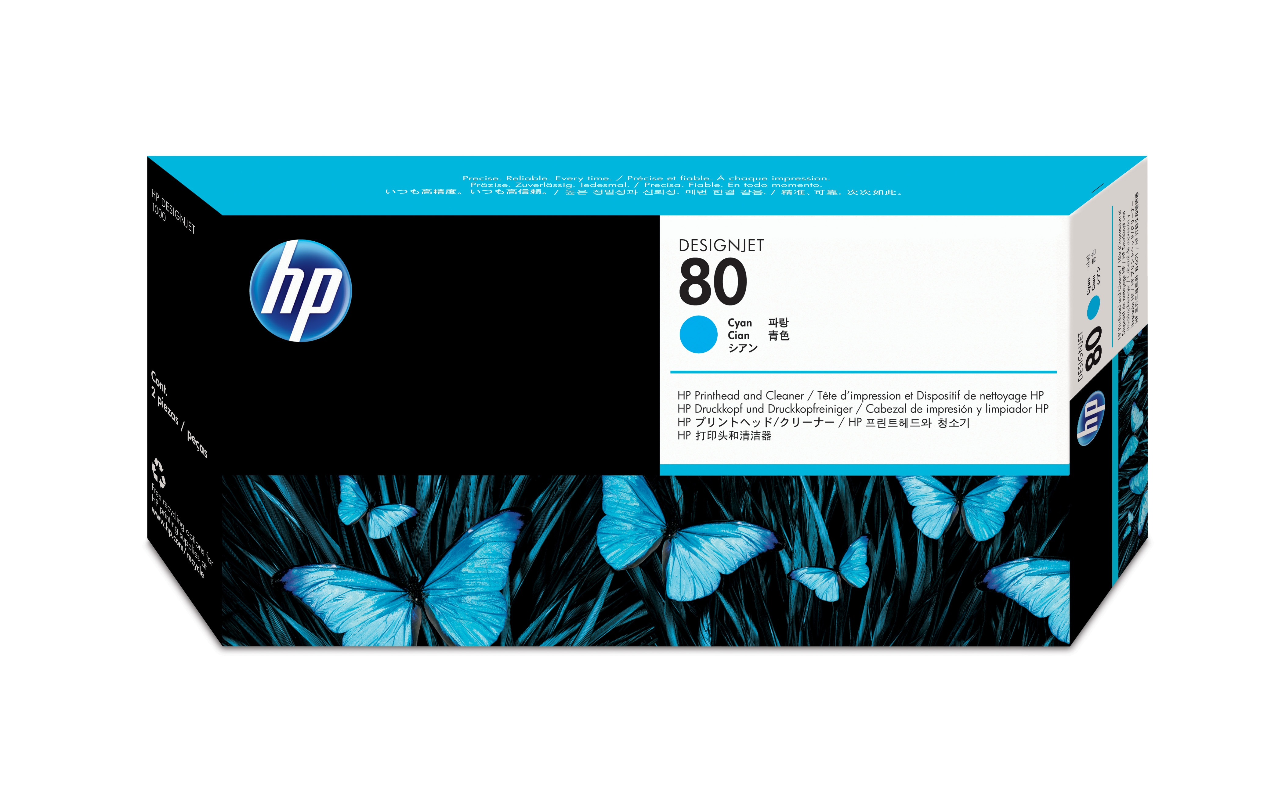 HP No. 80 Ink Printhead And Cleaner - Cyan C4821a