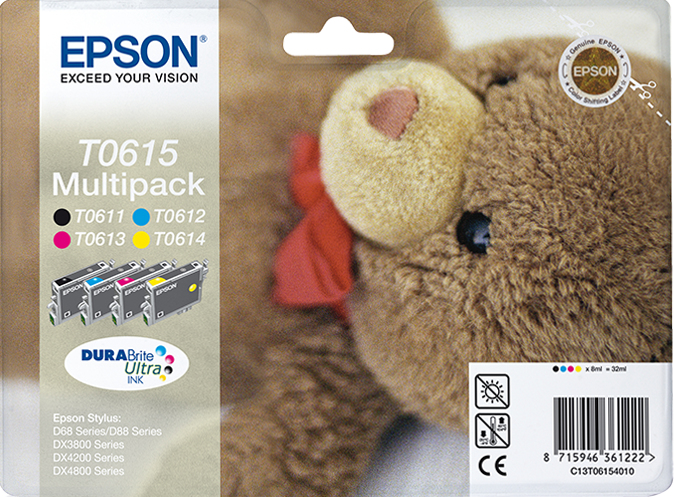 Epst061540     Epson T0615 Quad Pack          T061 Quad Pack Retail Solution                               - UF01