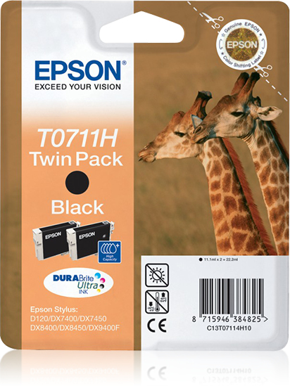 Epst07114h10   Epson T0711h Twin Pk Blk High  D120 Dx7400/7450/8400/8450/9400f                             - UF01