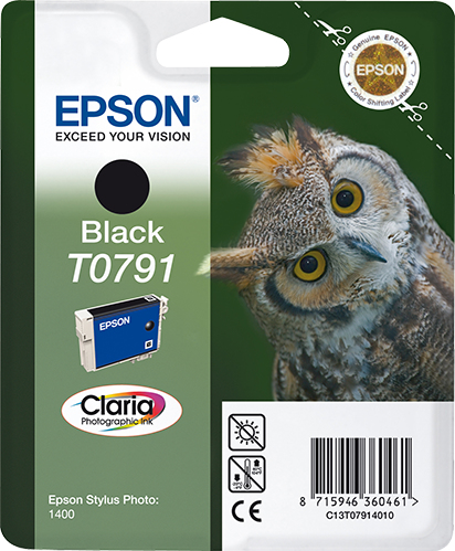 Epst079140ao   Epson T0791 Black Ink          Stylus Photo 1400                                            - UF01