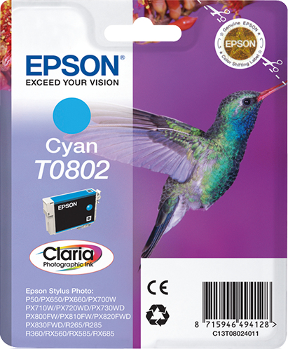 Epst08024011   Epson T0802 Cyan Ink           Stylus Photo R265 R360 Rx560                                 - UF01