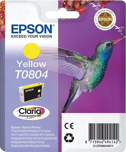 Epst08044011   Epson T0804 Yellow Ink         Stylus Photo R265 R360 Rx560                                 - UF01