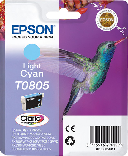 Epst08054011   Epson T0805 Light Cyan Ink     Stylus Photo R265 R360 Rx560                                 - UF01