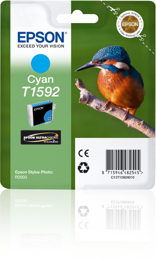 Epst15924010   Epson R2000 Cyan Ink           Ultrachrome Hi-gloss 2 Photographic                          - UF01