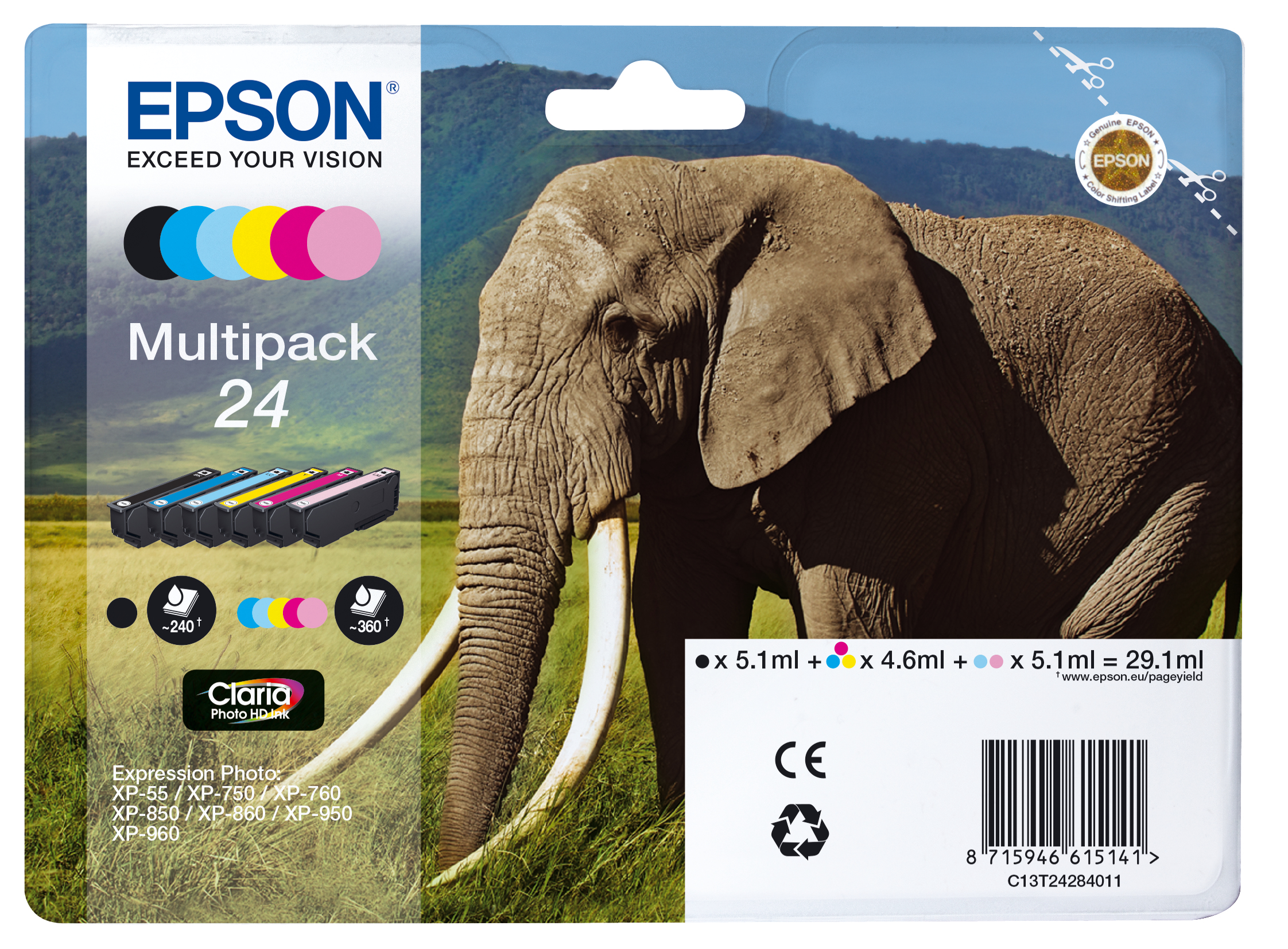 Epst24284011   Epson 24 Elephant Multipack    Claria Photo Hd Ink                                          - UF01