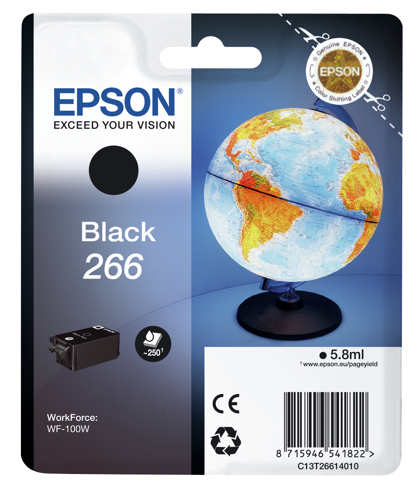 Epst26614010   Epson T266 Black Ink           266/267 Series Globe                                         - UF01