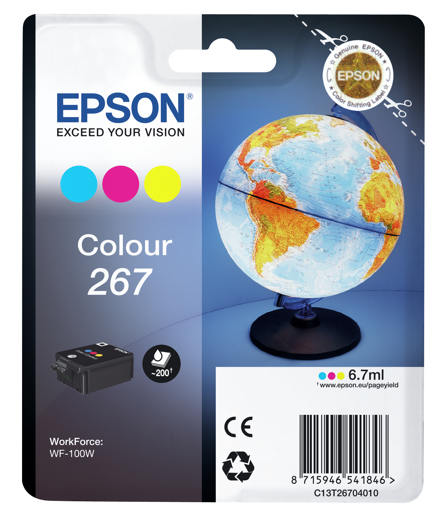 Epst26704010   Epson T267 3-colour Ink        266/267 Series Globe                                         - UF01