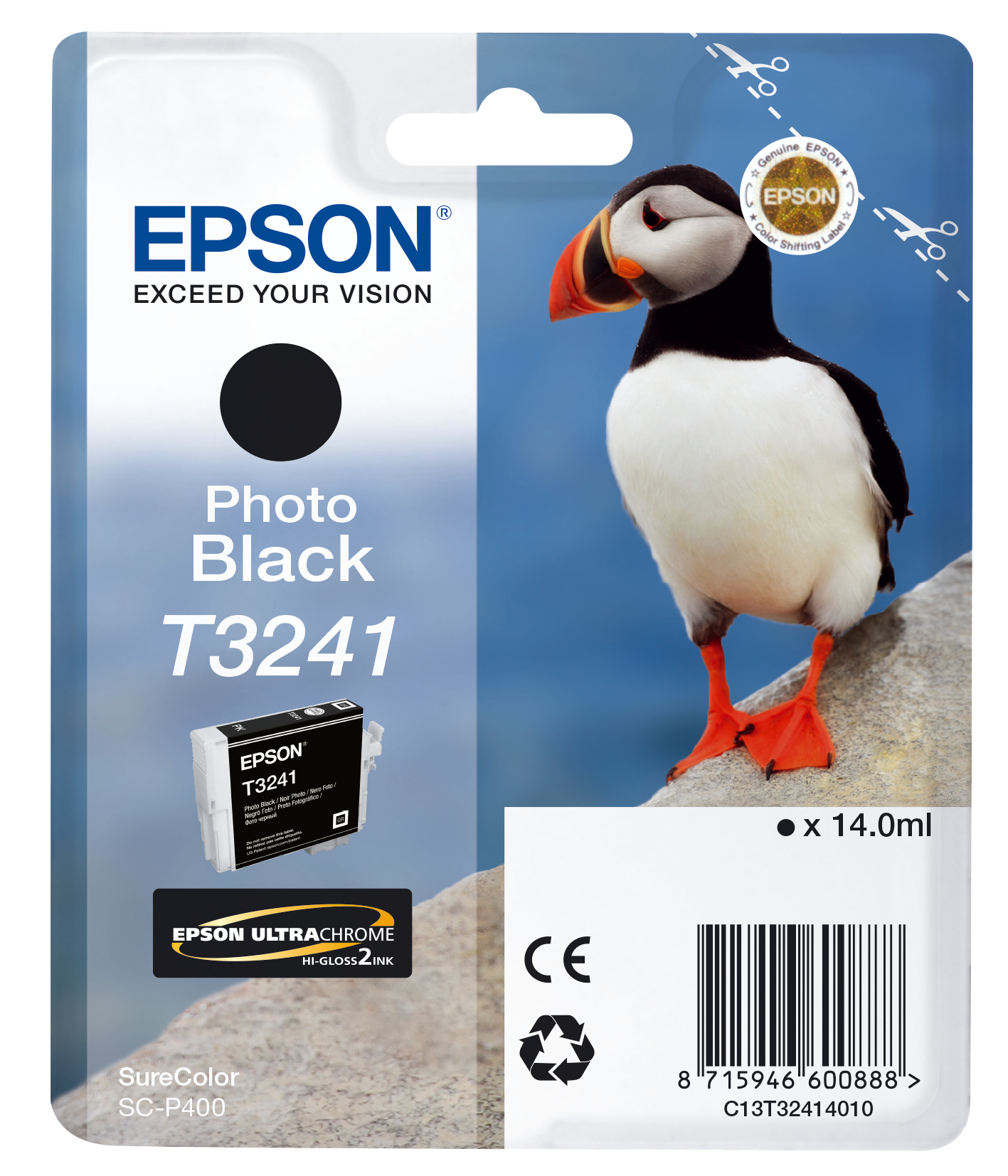 Epst32414010   Epson T3241 Photo Black        Hi-gloss 14.0ml Puffin                                       - UF01