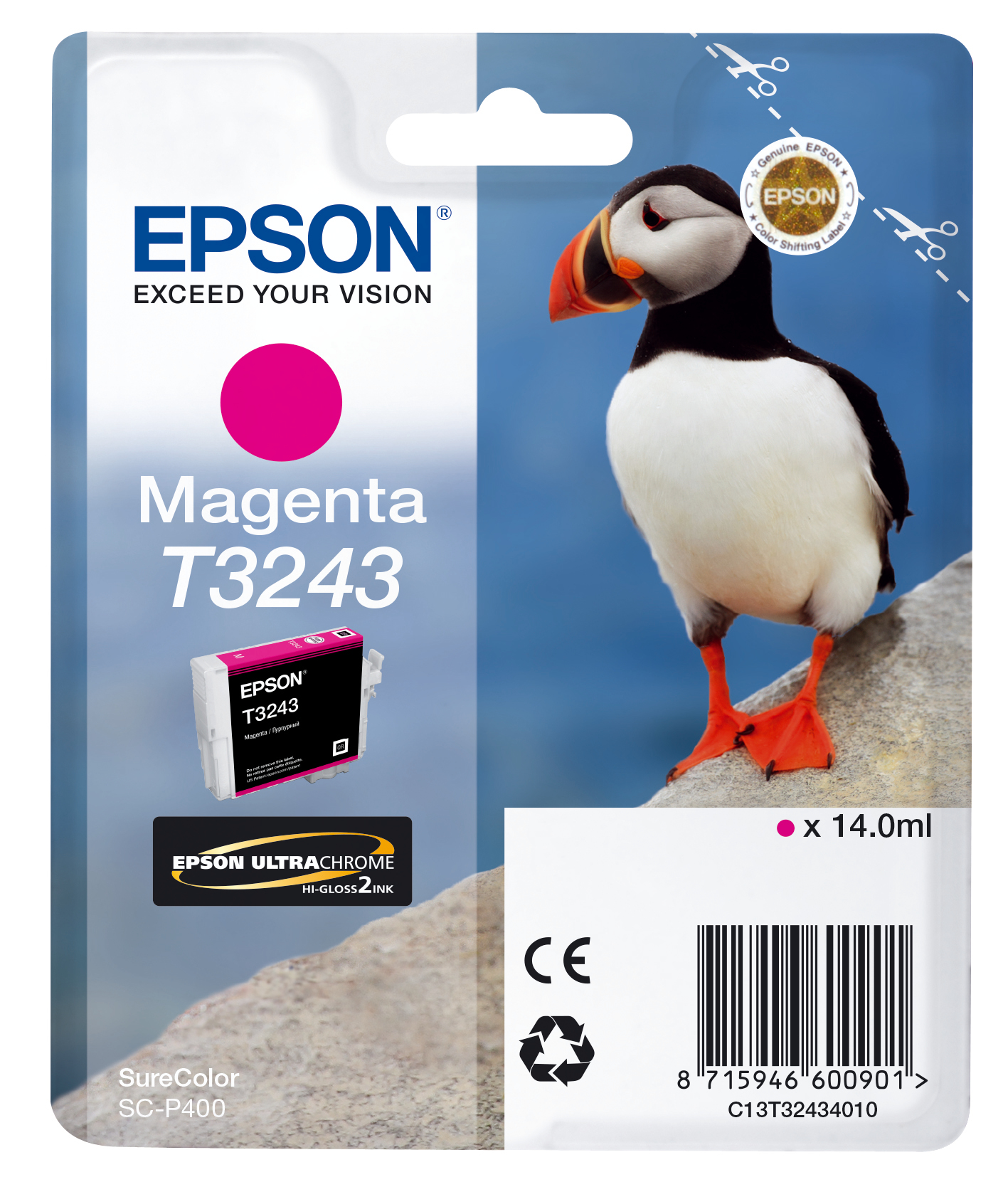 Epst32434010   Epson T3243 Magenta Ink        Hi-gloss 14.0ml Puffin                                       - UF01