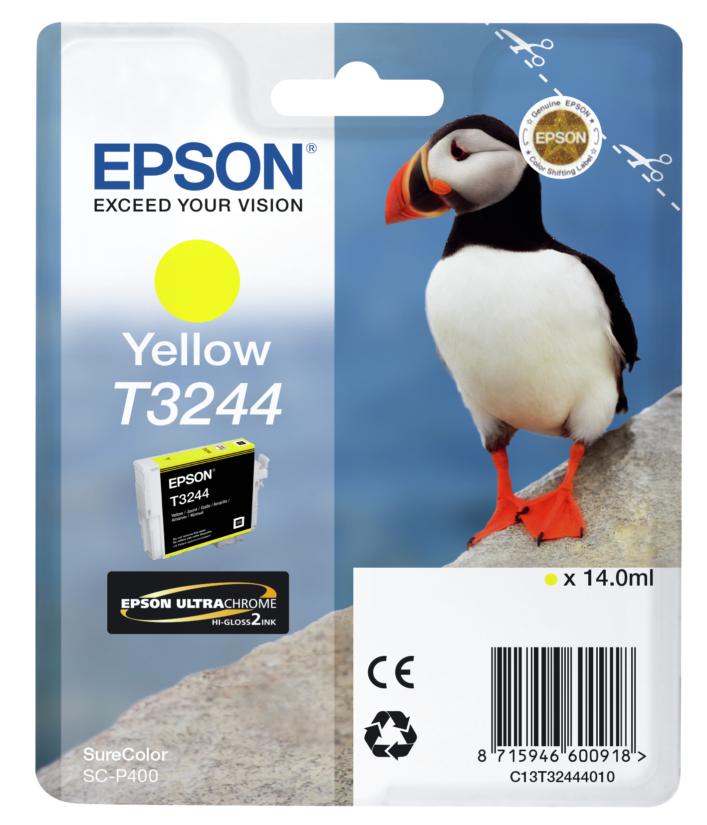 Epst32444010   Epson T3244 Yellow Ink         Hi-gloss 14.0ml Puffin                                       - UF01