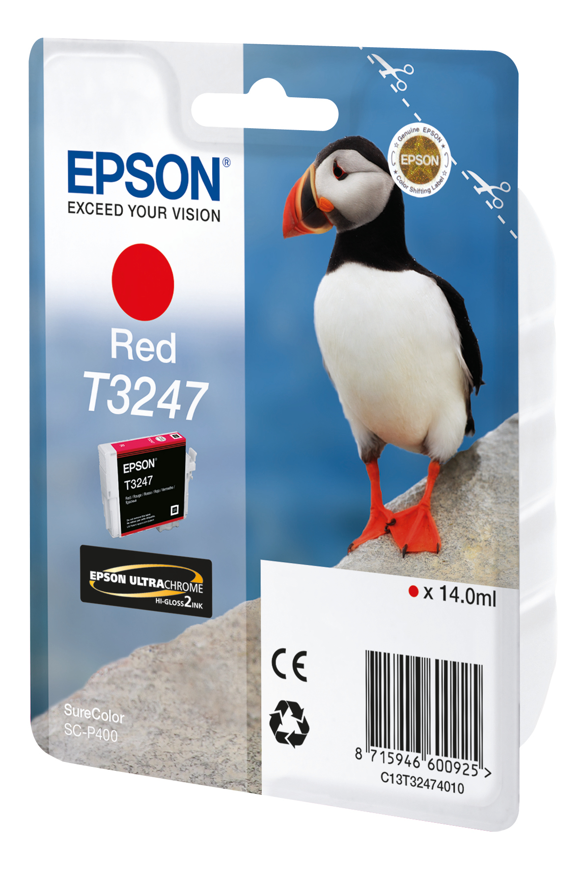Epst32474010   Epson T3247 Red Ink            Hi-gloss 14.0ml Puffin                                       - UF01