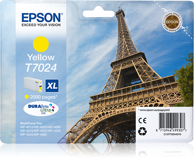 Epst70244010   Epson Wp4000/4500 Xl Yellow    Wp4000/4500 Series 2k                                        - UF01