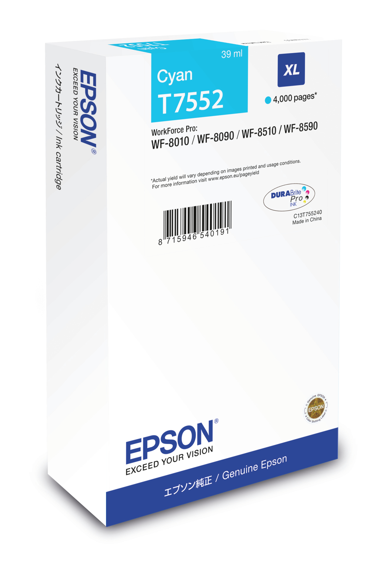 Epst755240     Epson Wf 8000 Series Cyan      Ink Cartridge Xl 4000 Pages                                  - UF01