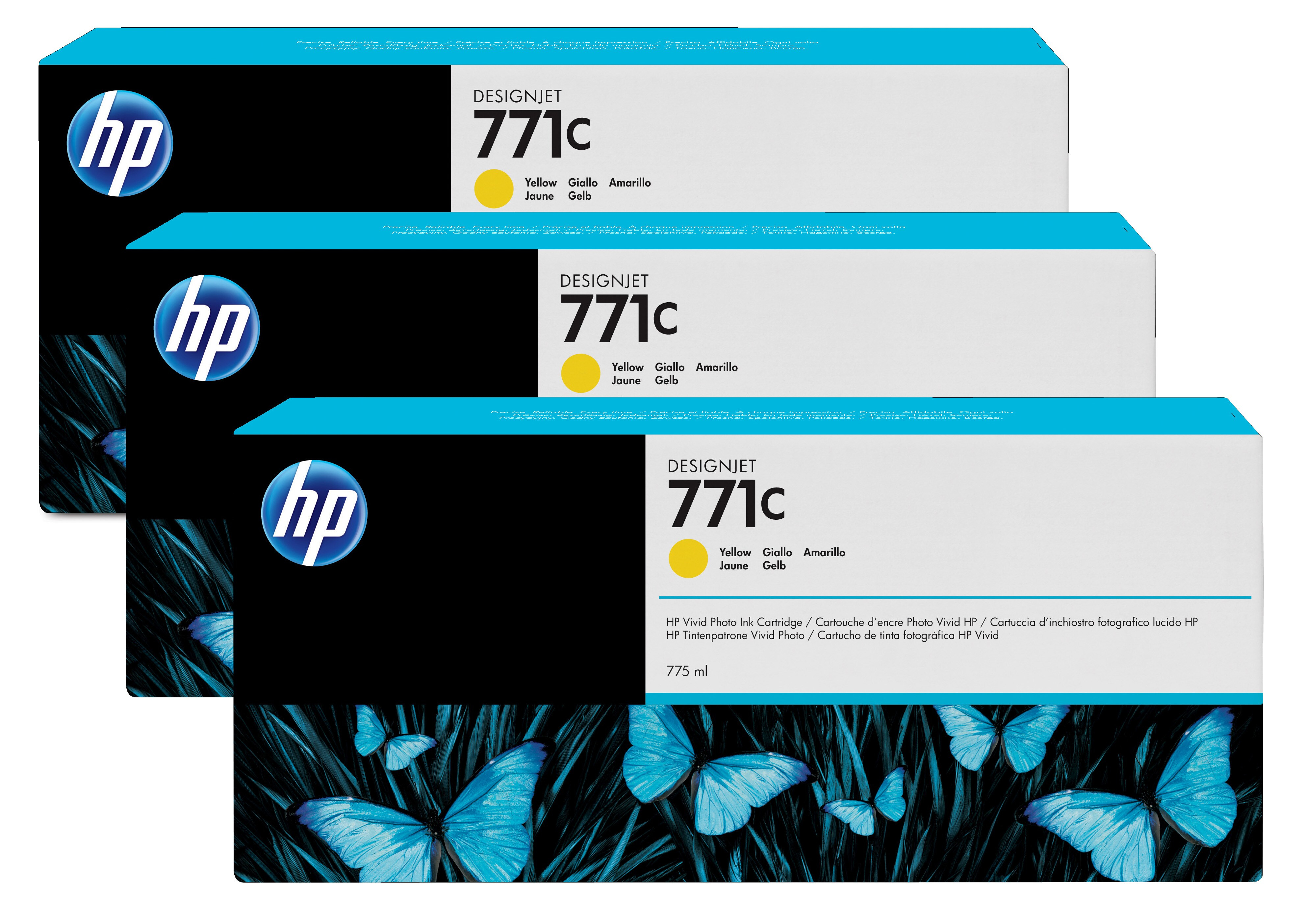 HP No. 771C 3 Ink Multipack - Yellow B6y34a