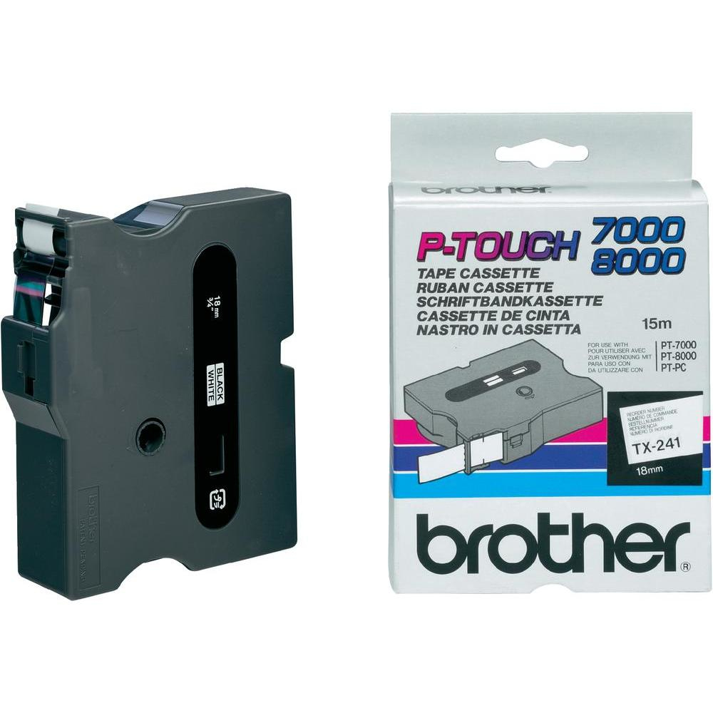 Brother 18mm Gloss Tx Black On White Tx241 - WC01