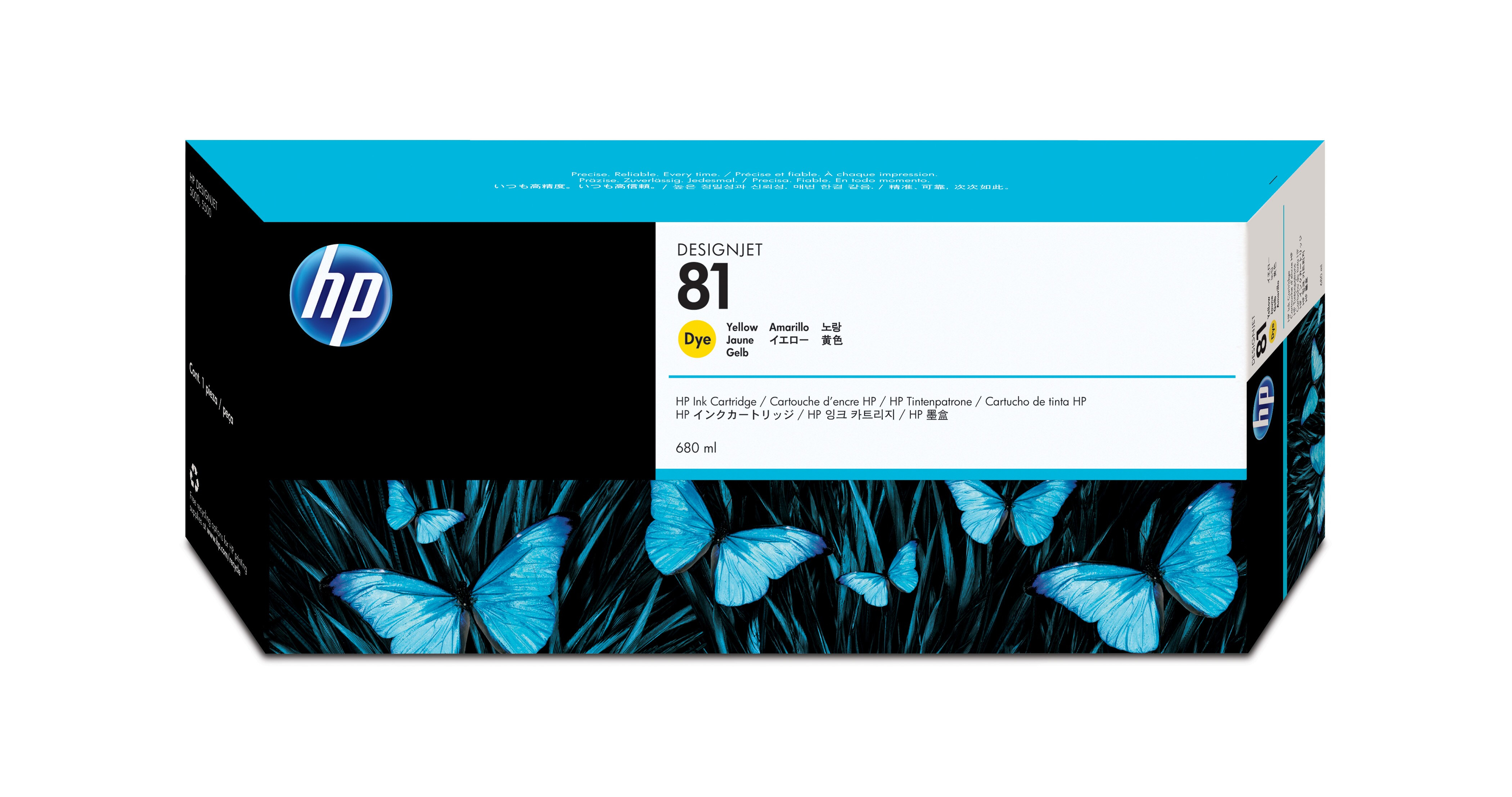 HP No. 81 Dye Ink Cartridge Yellow - 680ml C4933a