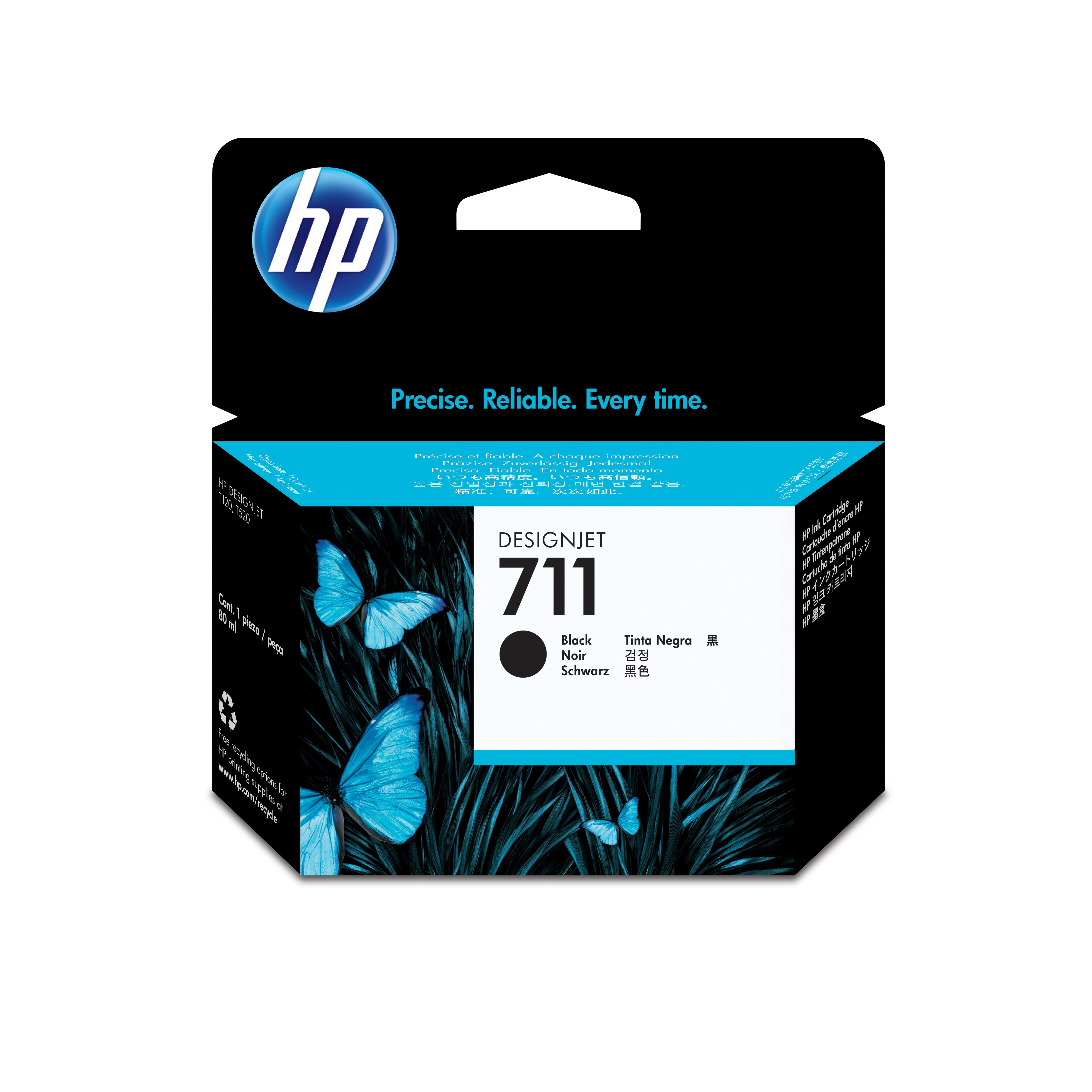 HP No. 711 Black Ink Cartridge - 80ml Cz133a