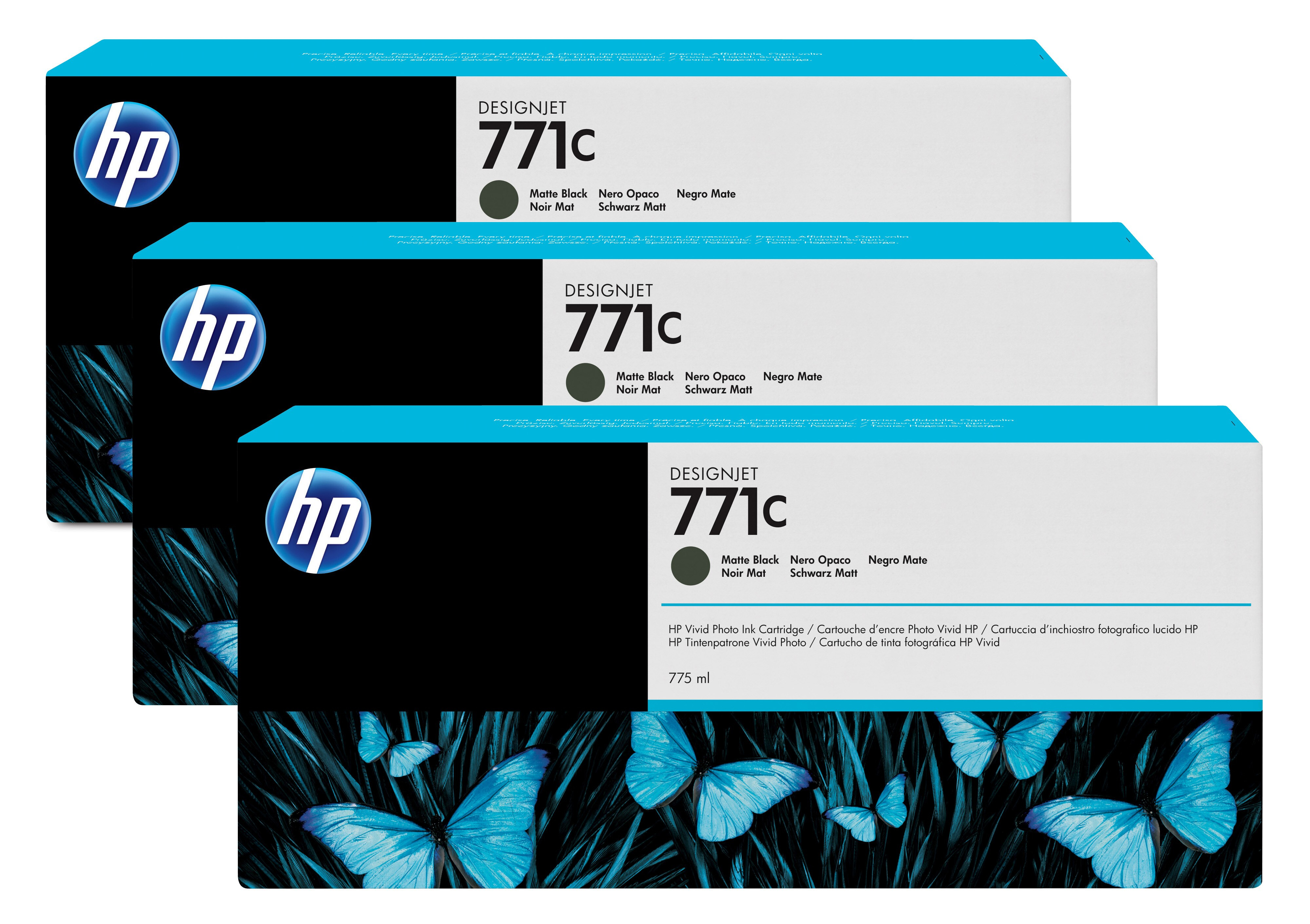 HP No. 771C 3 Ink Multipack - Matt Black B6y31a