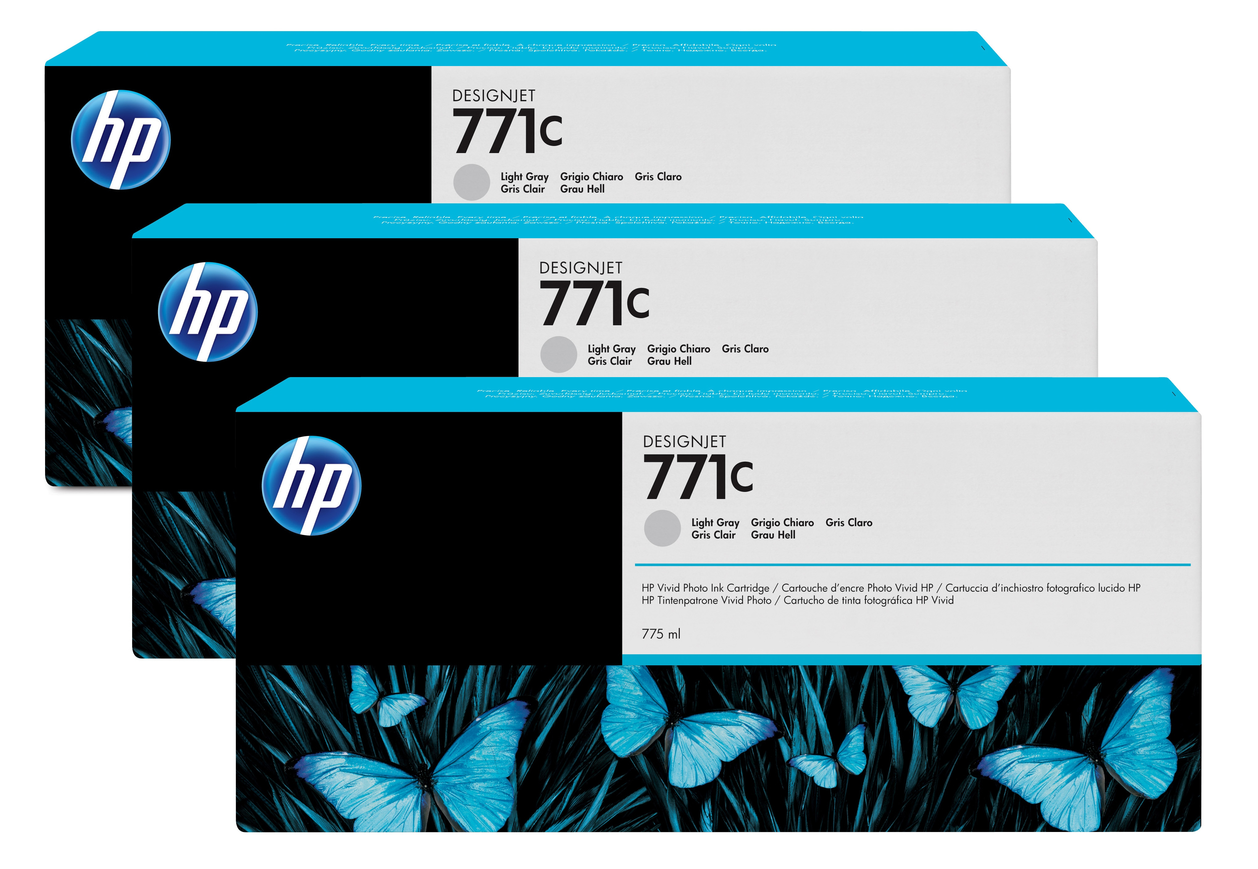 HP No. 771C 3 Ink Multipack - Light Gray B6y38a