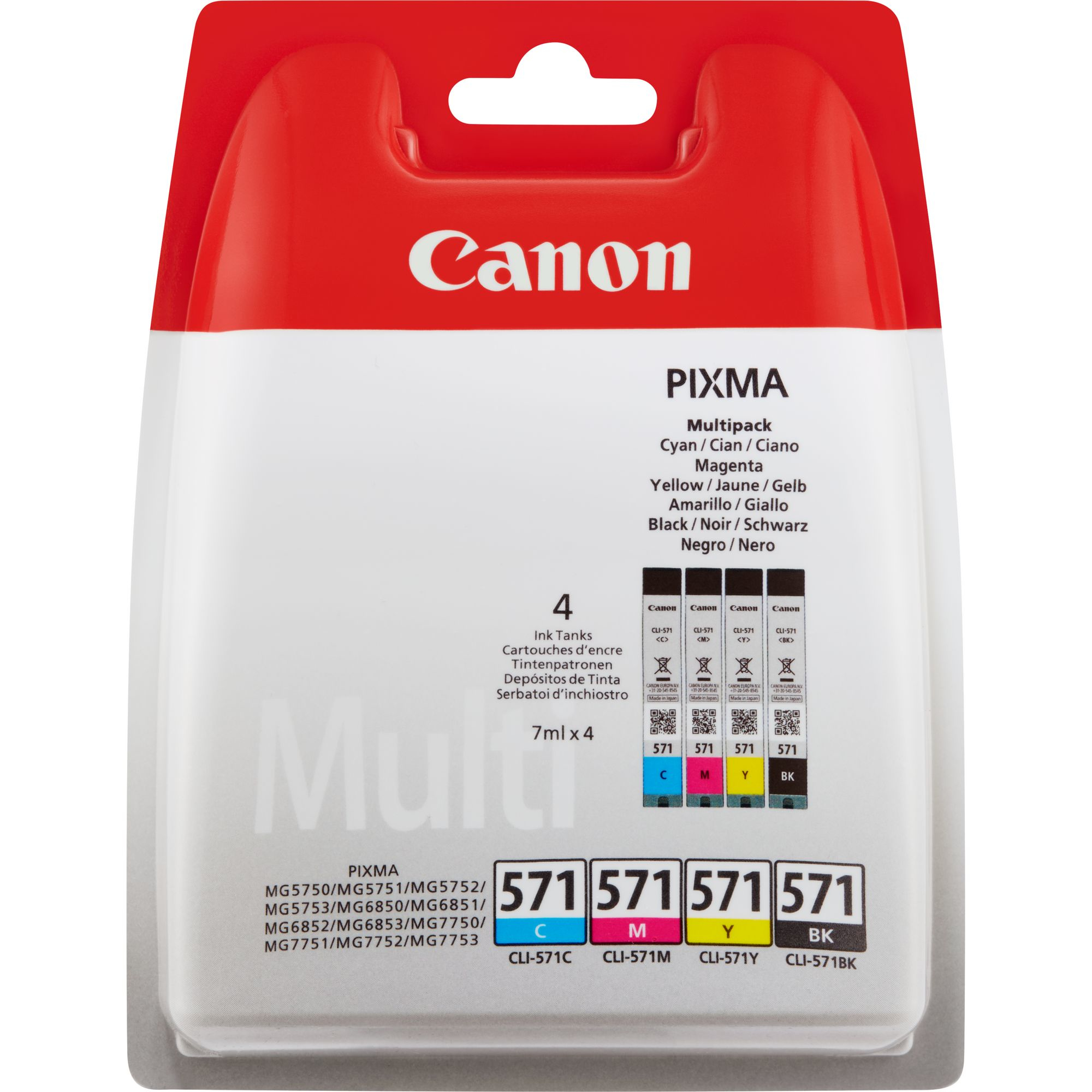 Canon CLI-571 C/M/Y/BK Value Pack - 4-pack - Black, Yellow, Cyan, Magenta - Original - Ink Tank - For PIXMA MG5751, MG5752, MG5753, MG6851, MG6852, MG6853, MG7750, MG7751, MG7752, MG7753 0386 - C2000