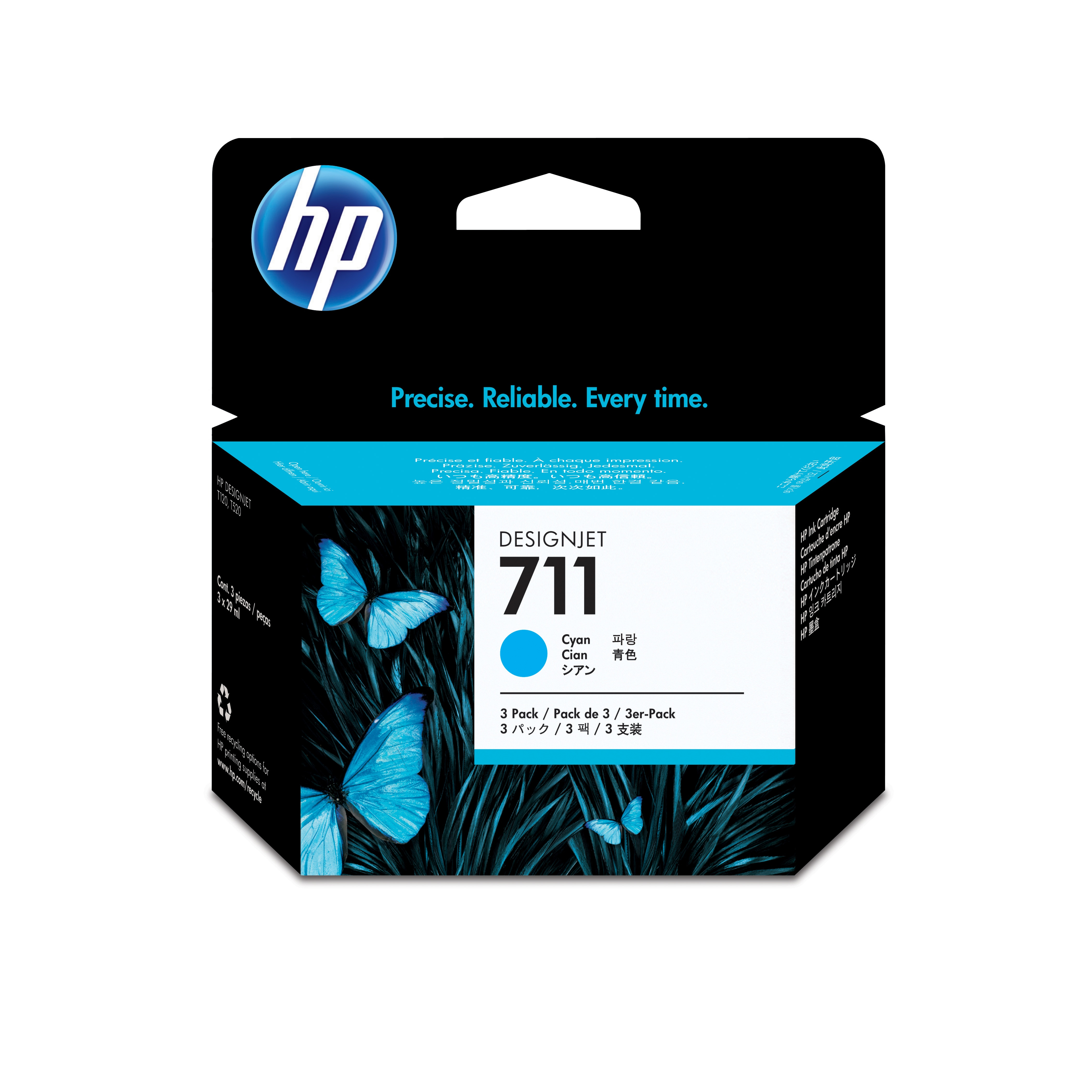 Hpcz134a       Hp 711 3 Pack 29ml Cyan        Ink Cartridge                                                - UF01