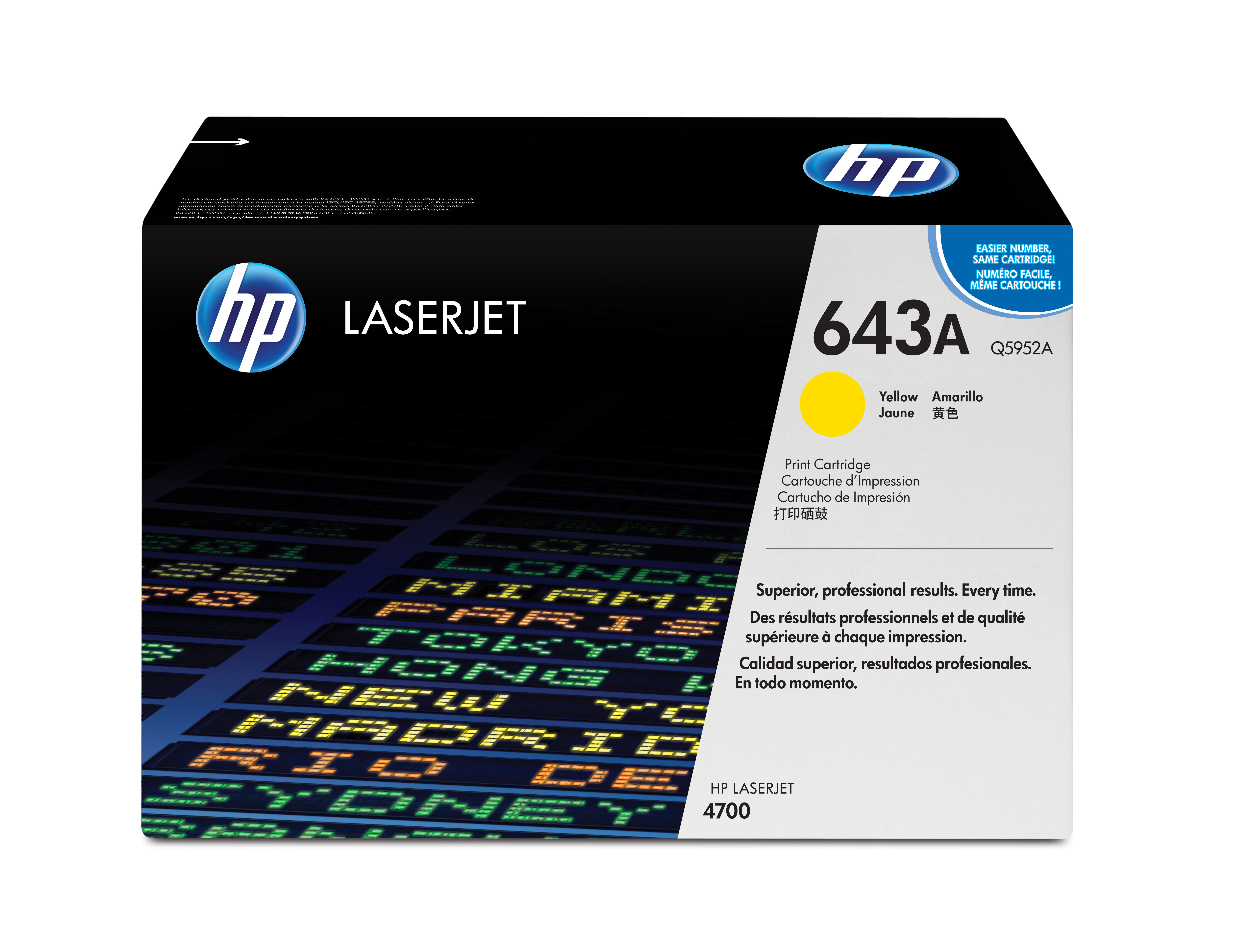 Hpq5952a       Hp 643a Yellow Laser Toner     4700 4730 Mfp Series                                         - UF01