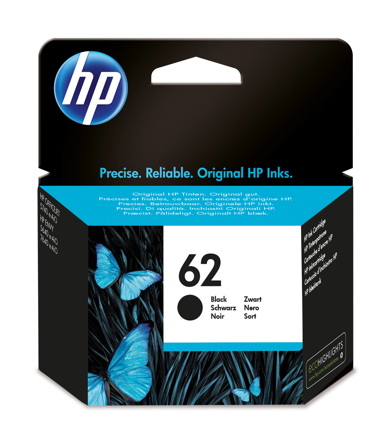 HP 62 - C2P04AE - 1 X Black - Ink Cartridge - For Envy 5644, 5646, 5660, 7640, Officejet 5742, 8040 With Neat C2P04AE#UUS - C2000