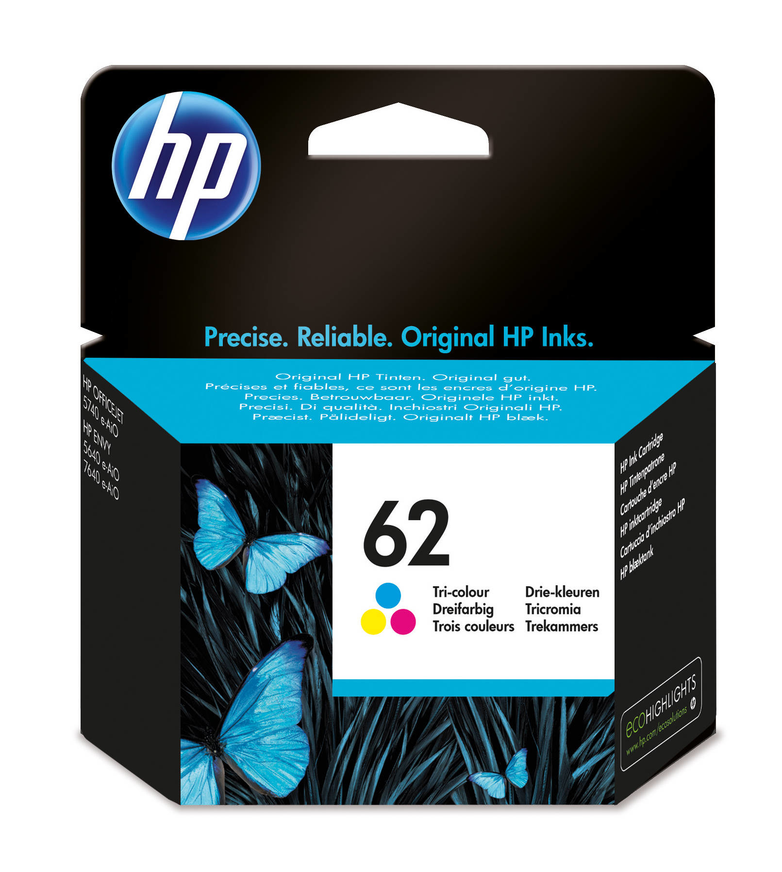 HP 62 - C2P06AE - Tricolour Tricolour- - Ink Cartridge - For Envy 5640, 5644, 5646, 5660, 7640, Officejet 5740, 5742, 8040 With Neat C2P06AE#UUS - C2000
