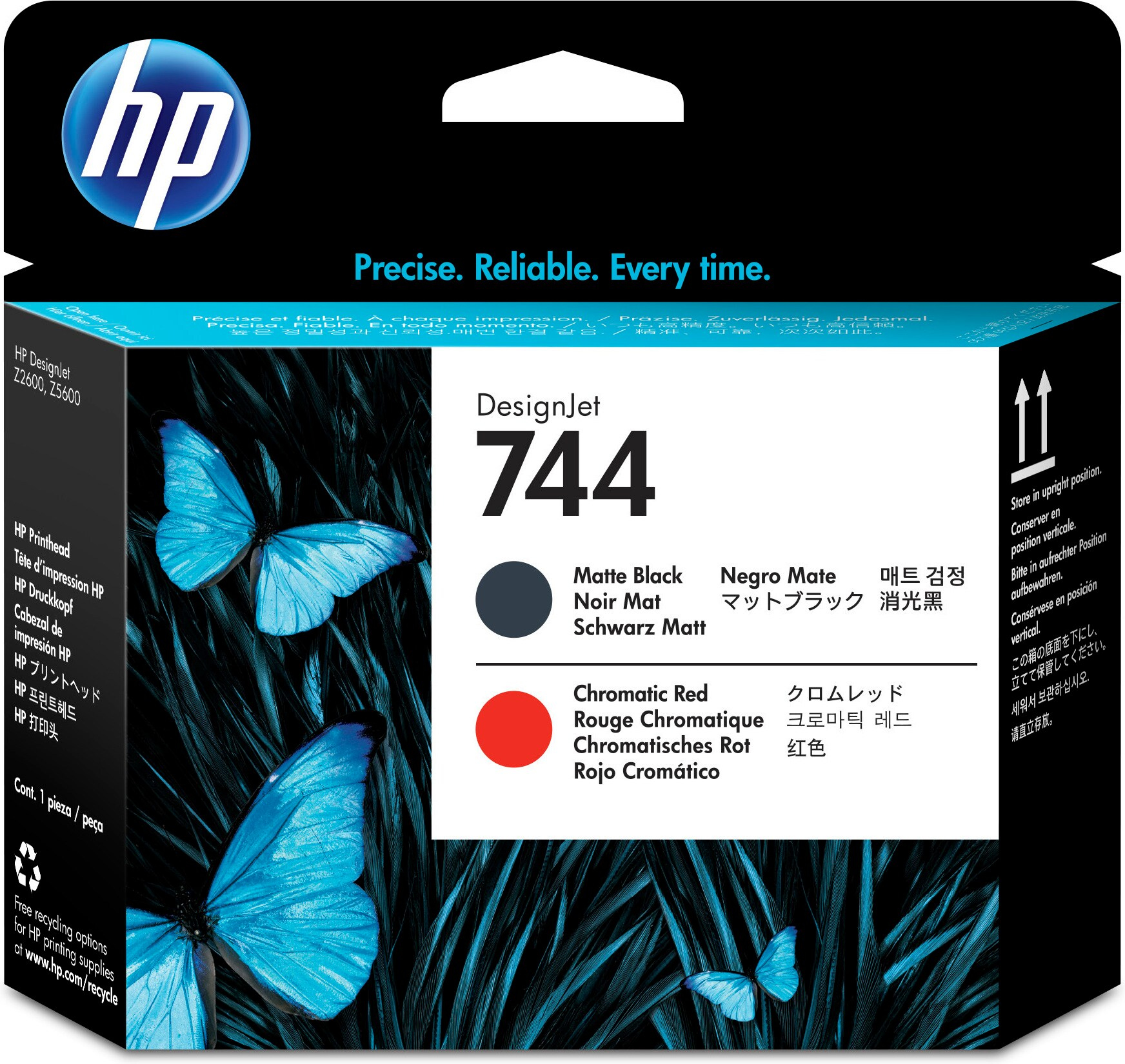 HP No. 744 Ink Printhead - Matte Black & Red F9j88a