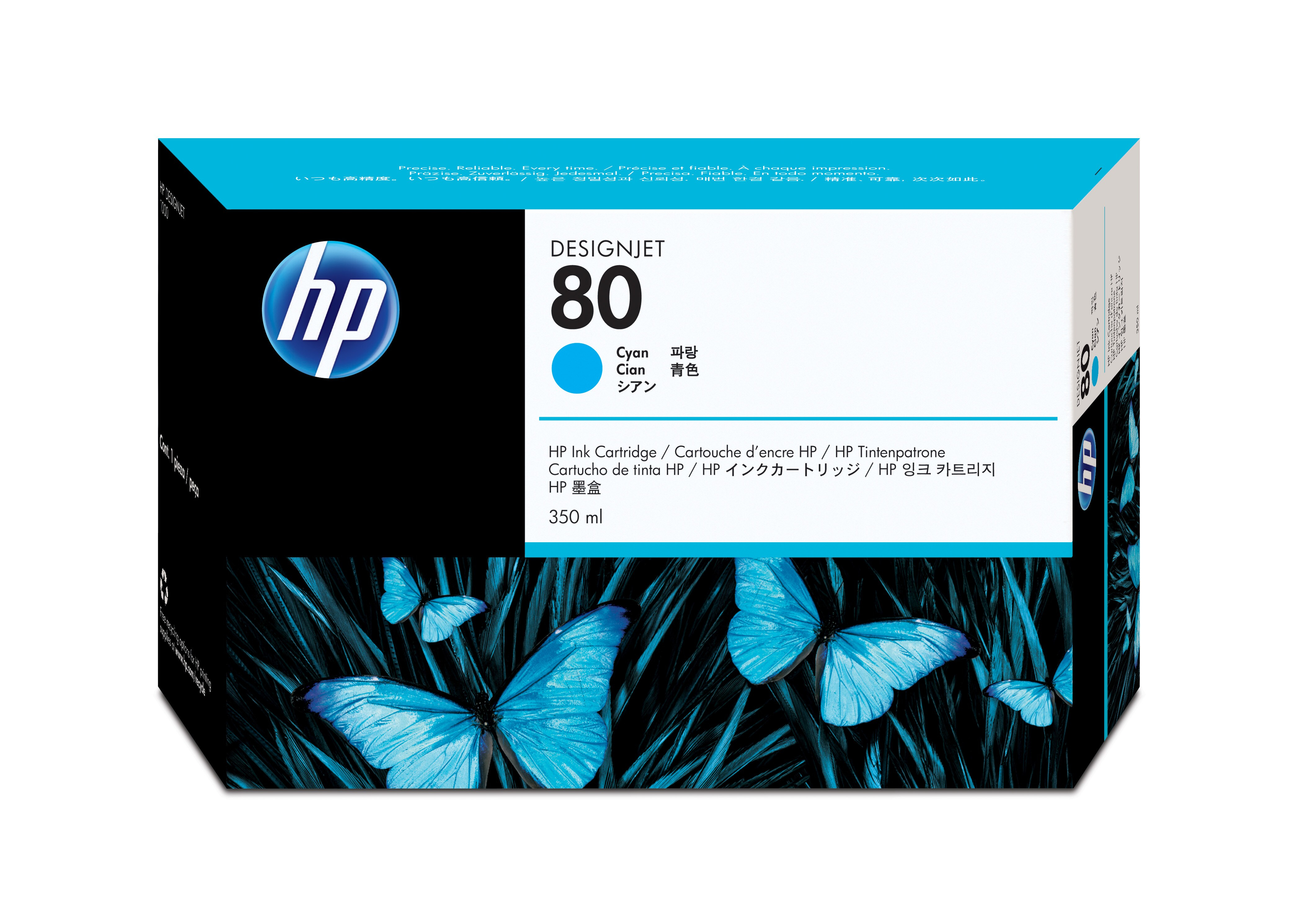 Hpc4846a       Hp 80 Cyan Inkjet              Hp No.80 Cyan Ink Cart (350ml)for Designjet 1050c/1055cm     - UF01