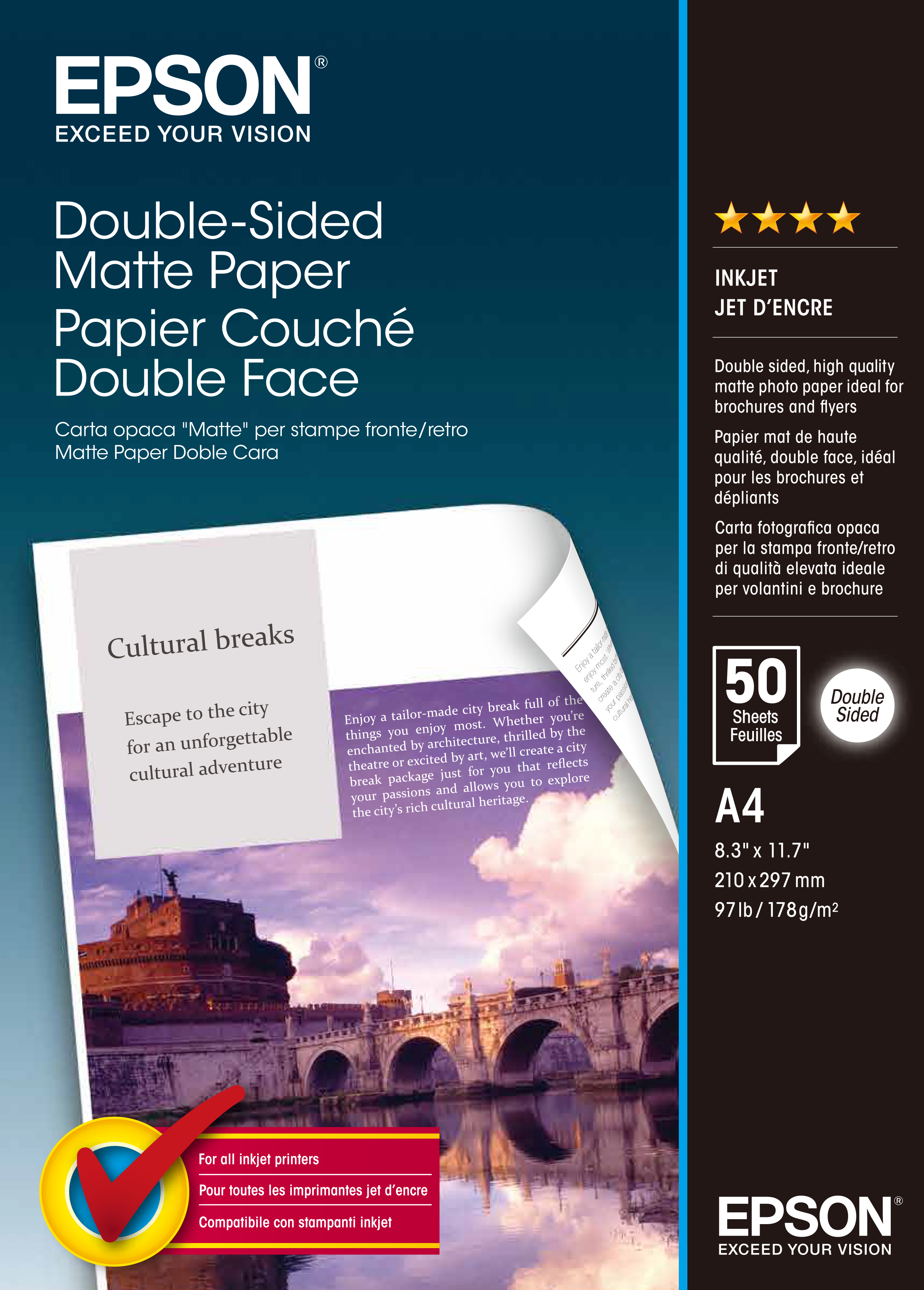 Epson Double-Sided Matte Paper - Two-sided Matte Paper - A4 (210 X 297 Mm) - 178 G/m2 - 50 Sheet(s) C13S041569 - C2000