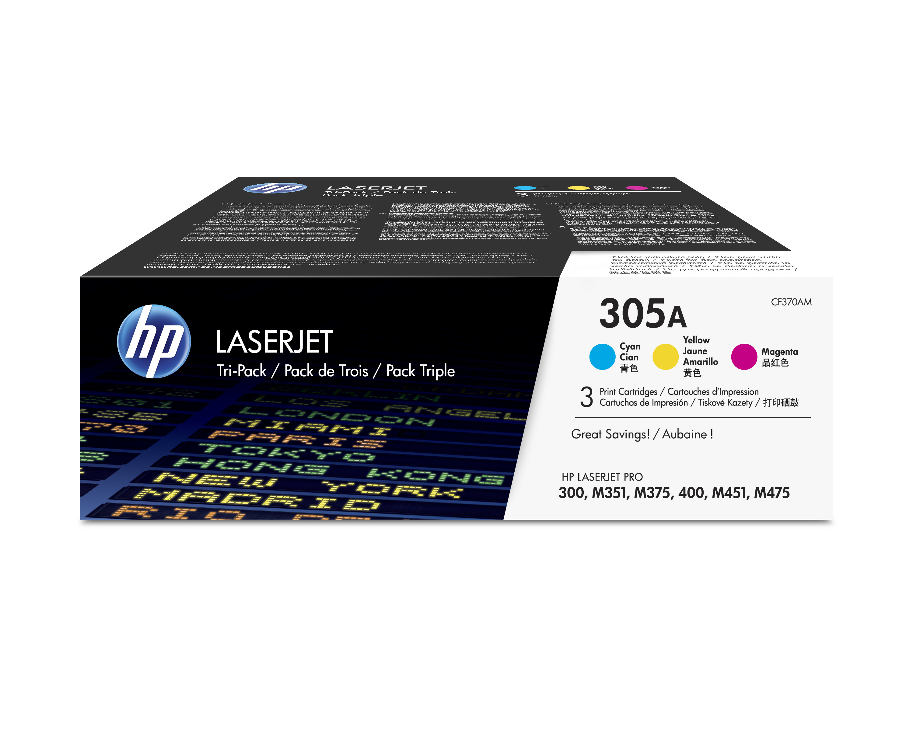 Hpcf370am      Hp 305a Multi Pack             Cyan Magenta And Yellow Toner                                - UF01