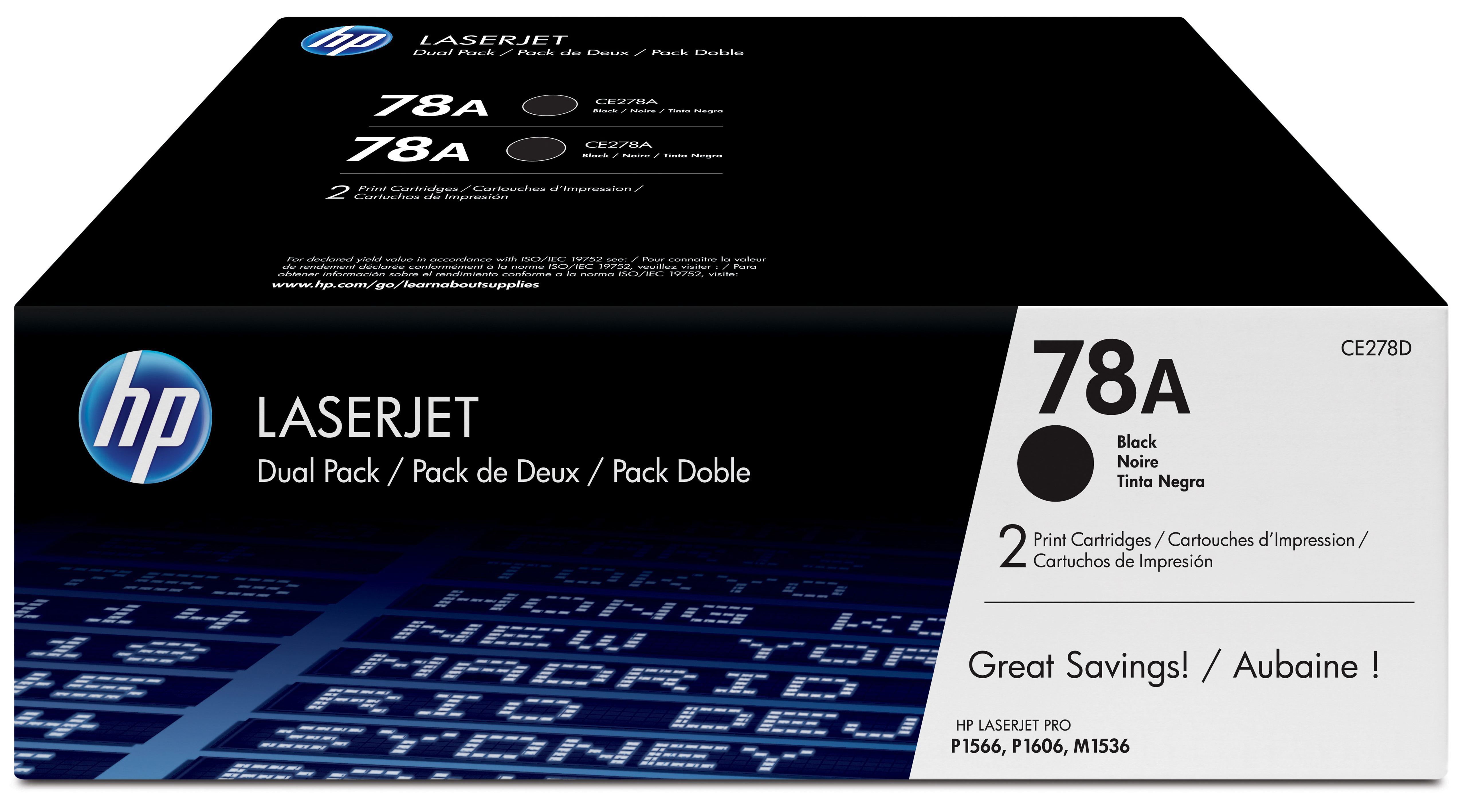 Hpce278ad      Hp 78a 2-pack Black Toner      Hp Laserjet Ce278ad Dual Pack                                - UF01