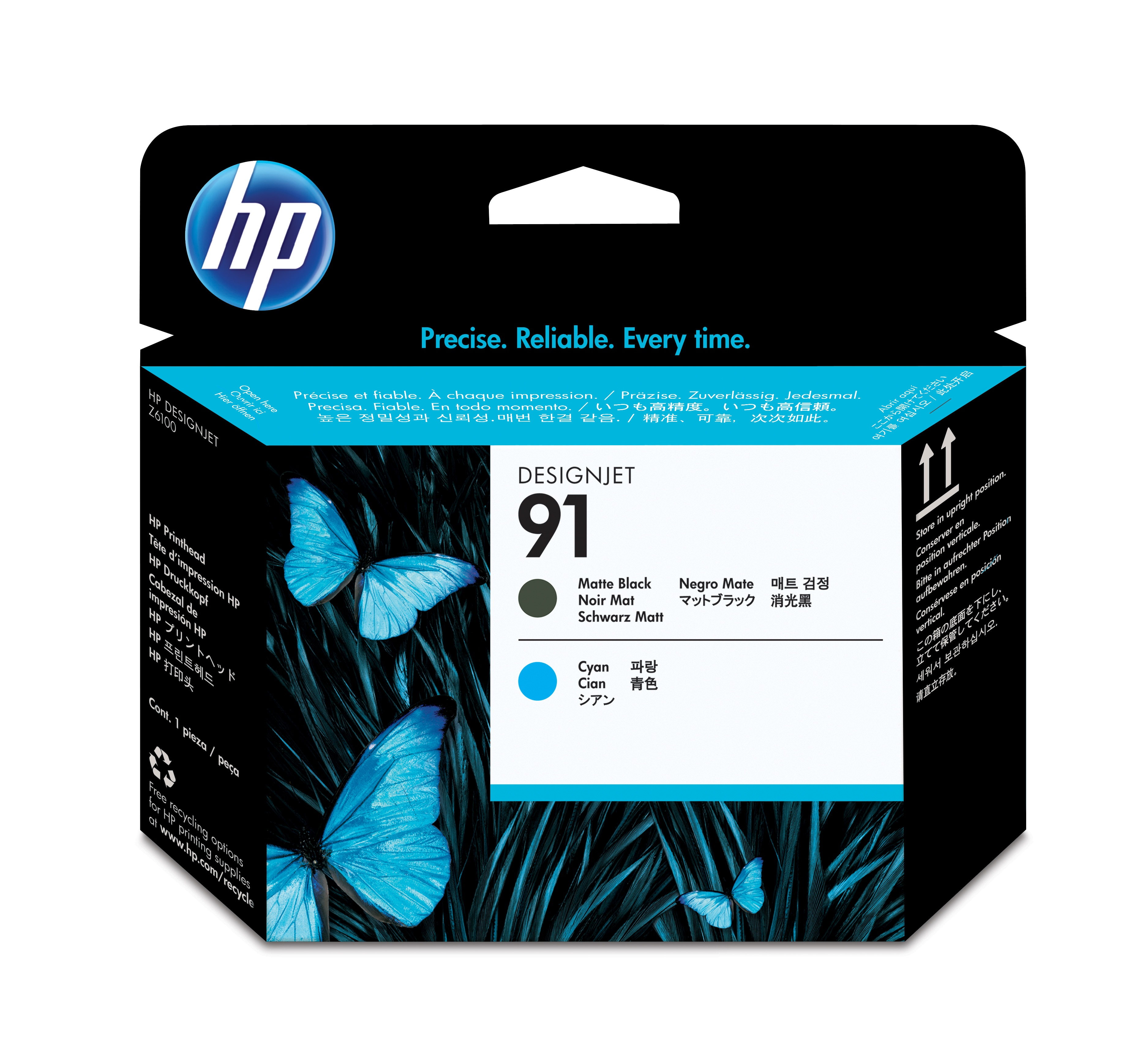 HP No. 91 Matte Black & Cyan Printhead C9460a