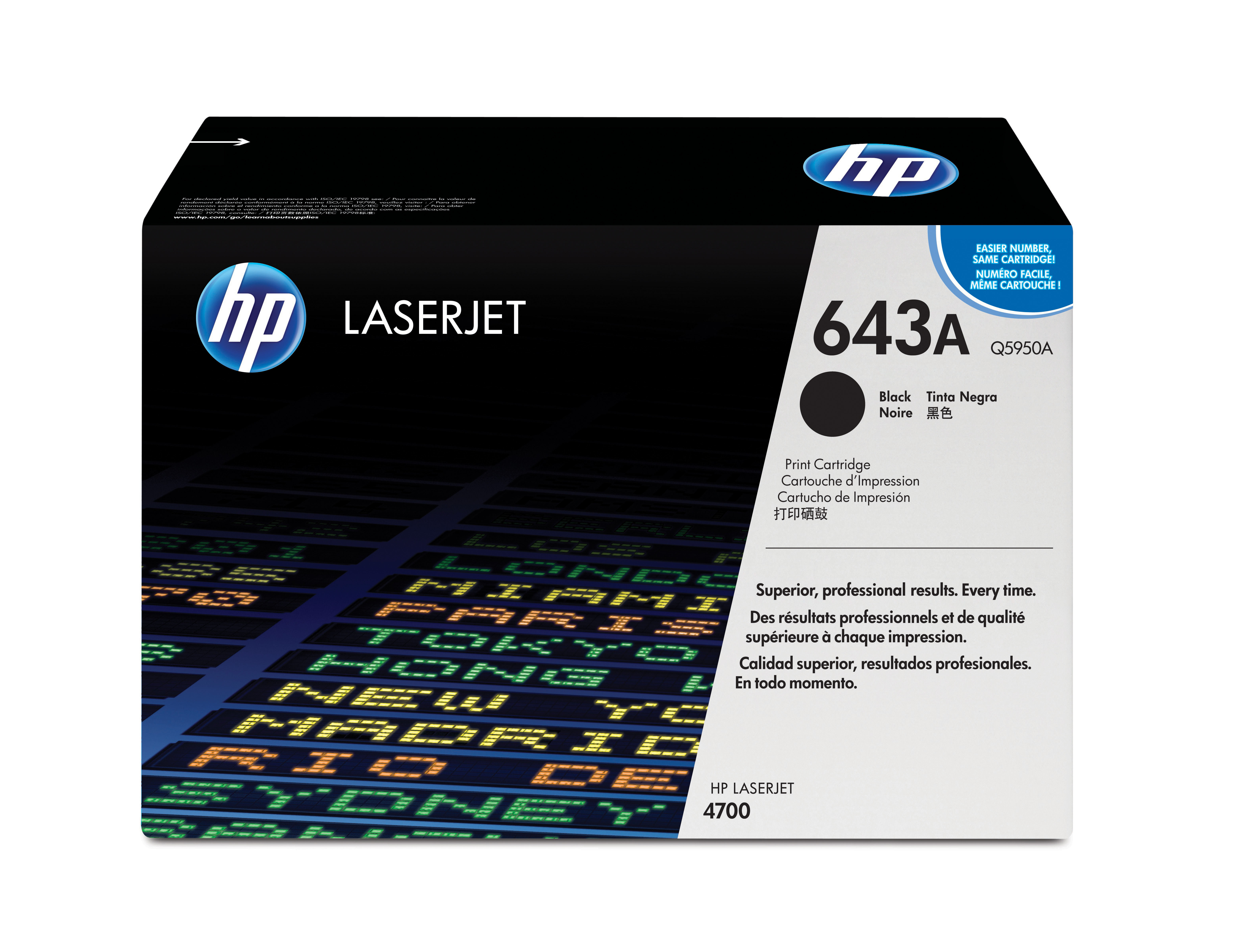 Hpq5950a       Hp 643a Black Laser Toner      4700 4730 Mfp Series                                         - UF01