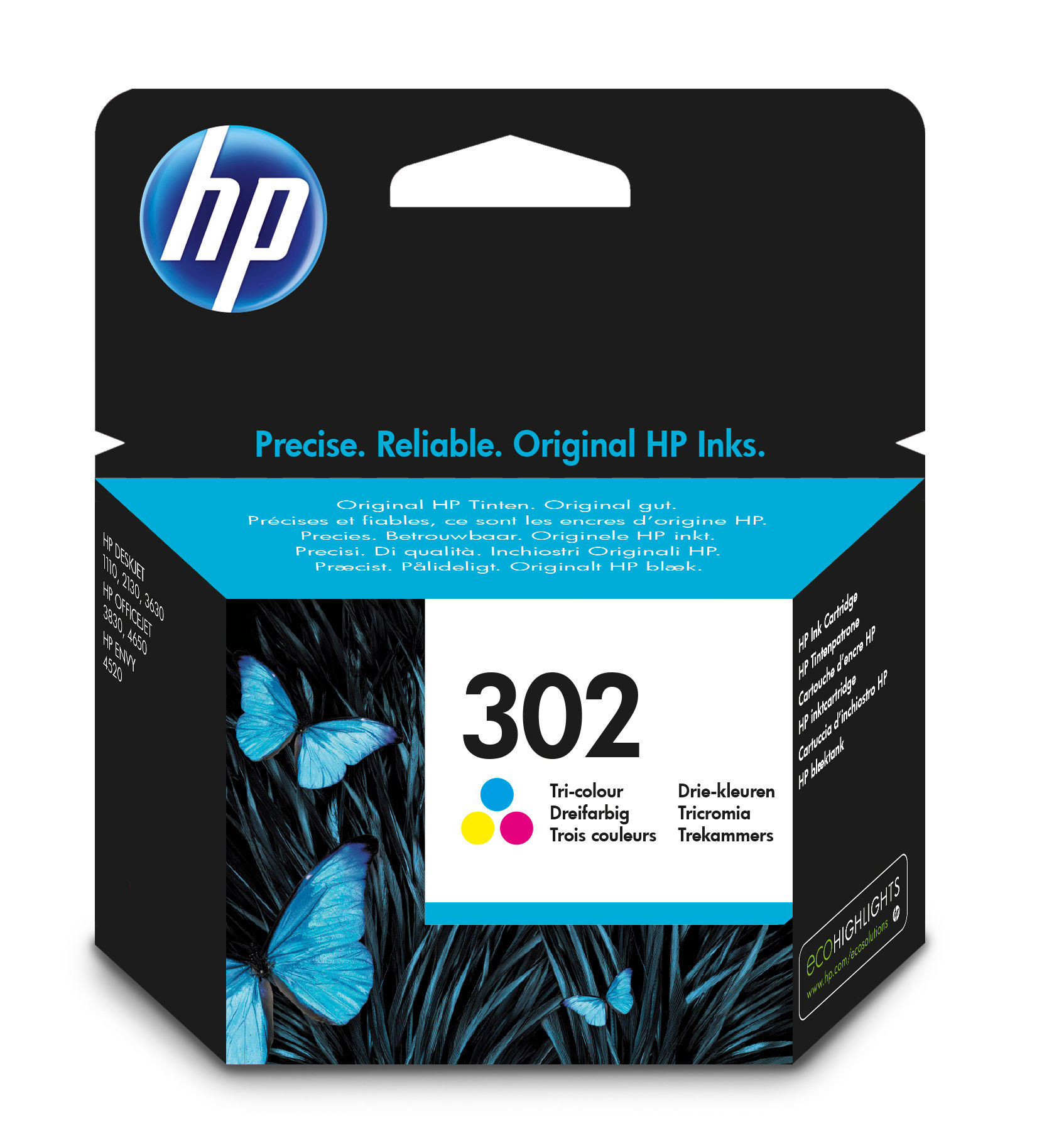HP 302 - F6U65AE - 1 X Yellow,1 X Cyan,1 X Magenta - Ink Cartridge - For Officejet 3830 F6U65AE#UUS - C2000