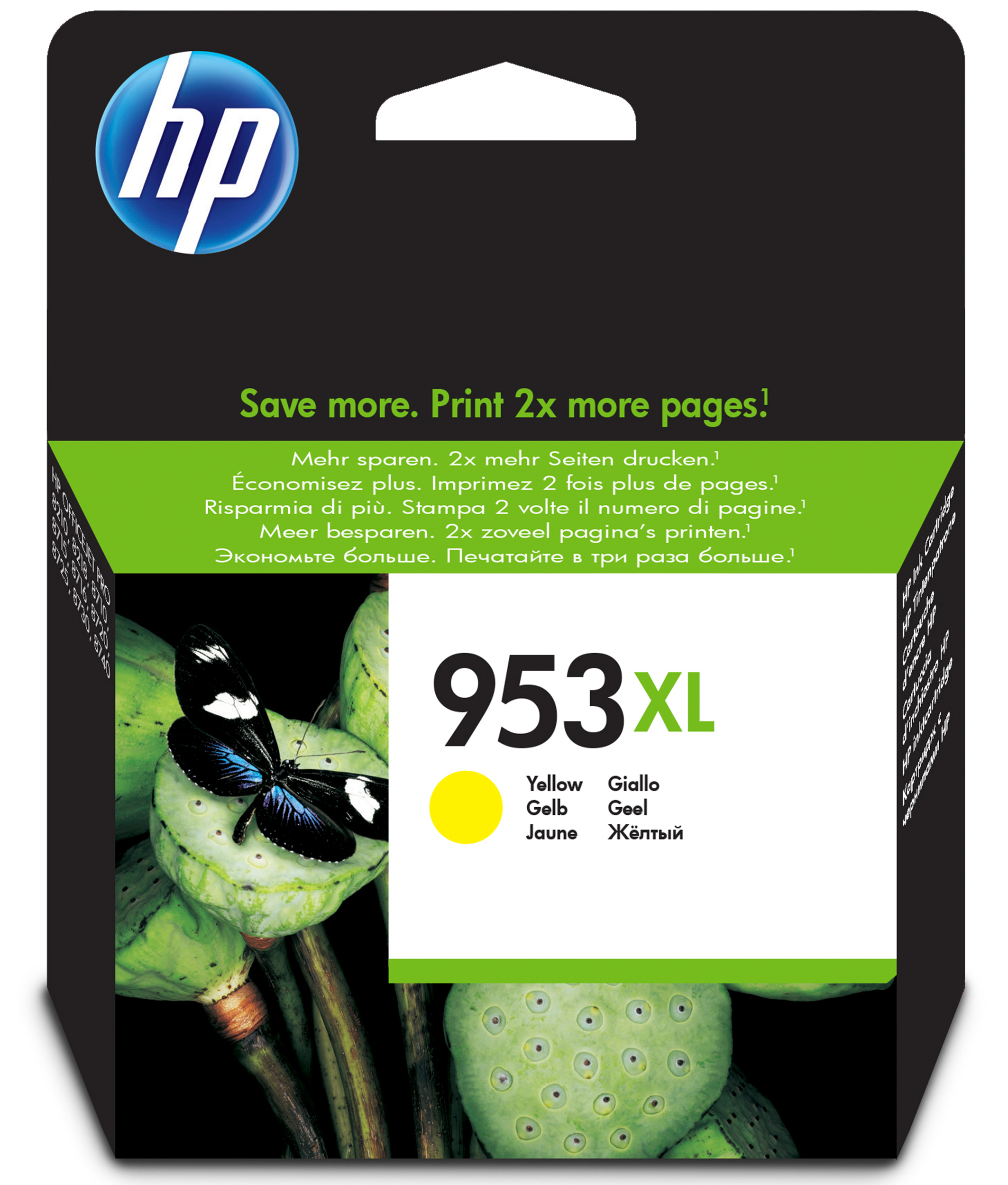 HP 953XL - 20 Ml - High Yield - Yellow - Original - Ink Cartridge - For Officejet Pro 8218, 8710, 8715, 8720, 8725, 8730, 8740, 8745 F6U18AE#BGX - C2000