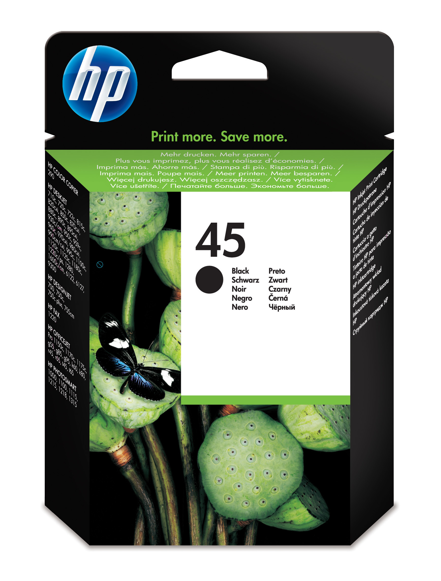 Remanufactured HP 51645AE (45) Black Ink Cartridge 51645A - rem01
