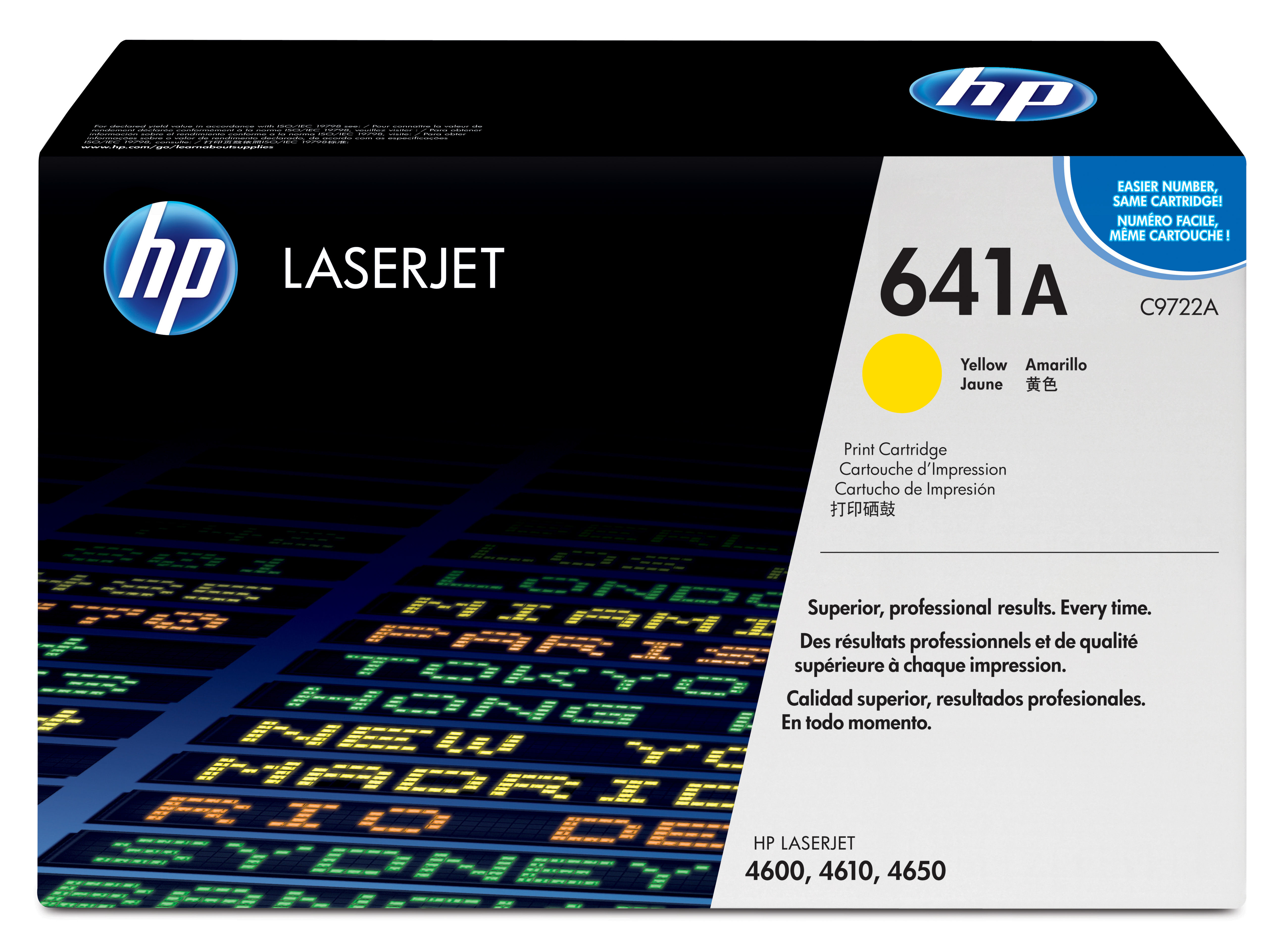 Remanufactured HP C9722A Toner Cartridge Yellow 8K C9722A - rem01