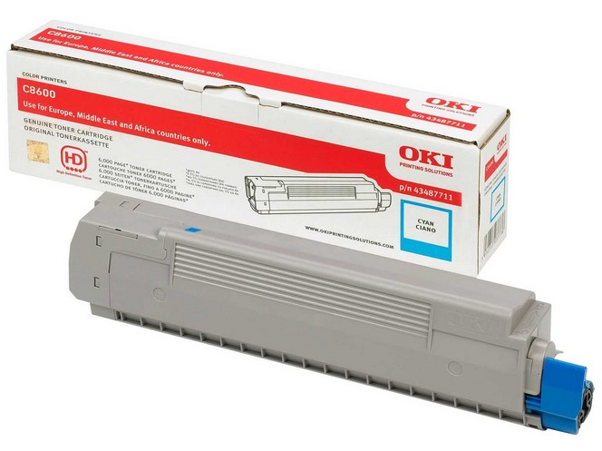Remanufactured Oki 43487711 Toner Cartridge Cyan C8600 (6k) 43487711 - rem01